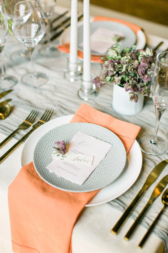 modern wedding classic place setting with punch