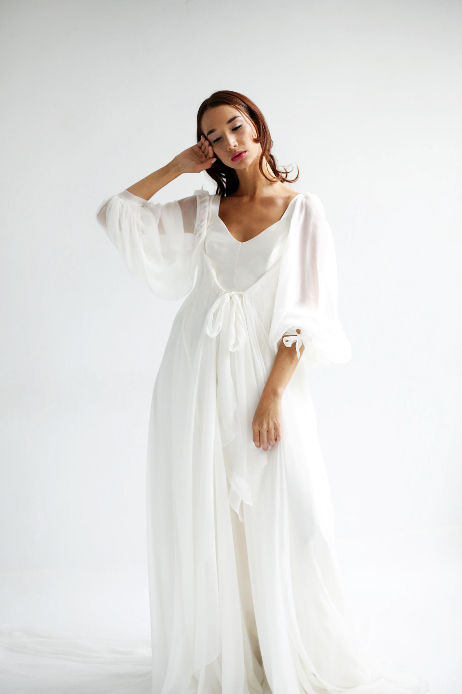 leanne marshall wedding dress spring 2019 bell sleeves bows