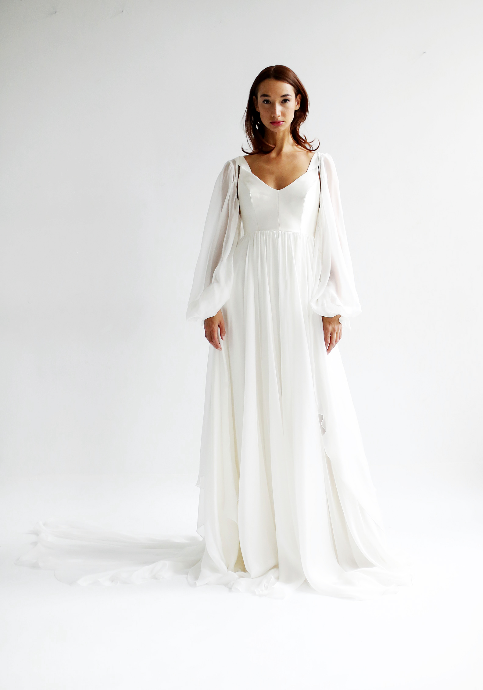 leanne marshall wedding dress spring 2019 long bell sleeves a-line