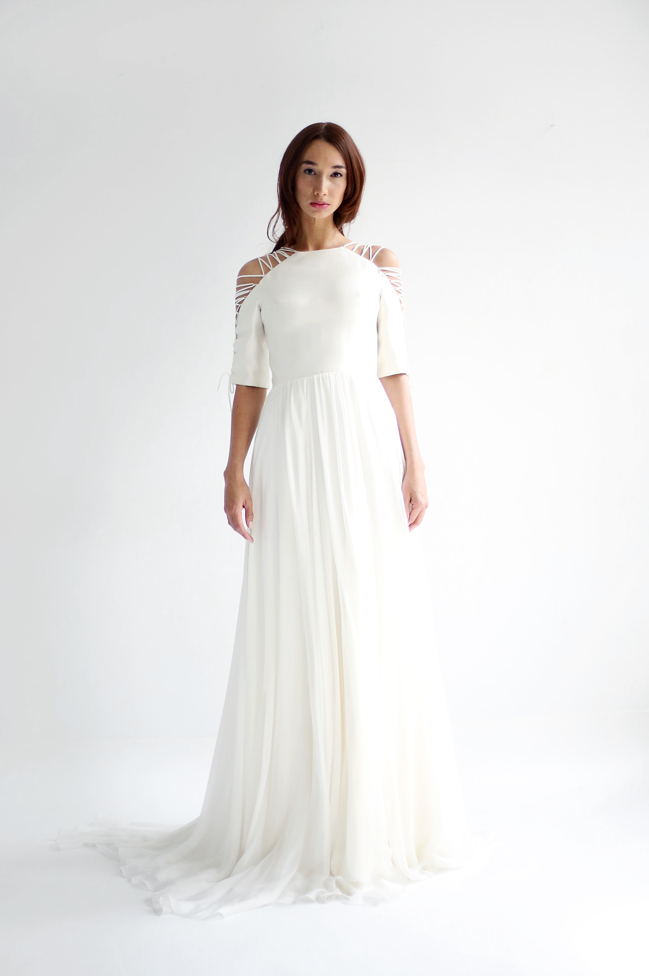 leanne marshall wedding dress spring 2019 elbow length sleeves cut out cold shoulder a-line
