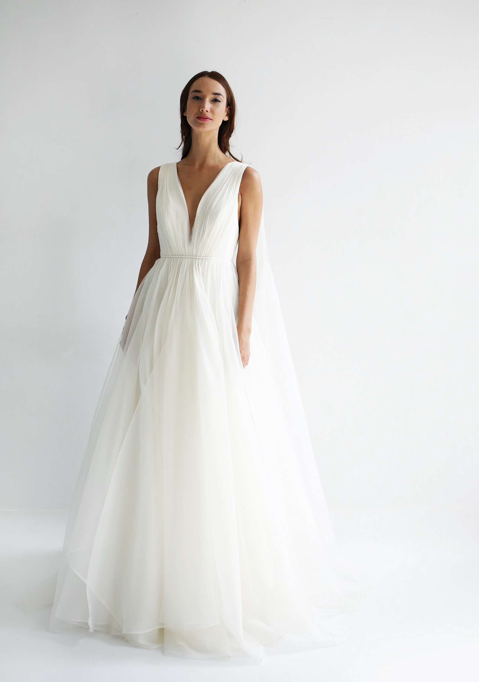 leanne marshall wedding dress spring 2019 sleeveless a-line deep v tulle