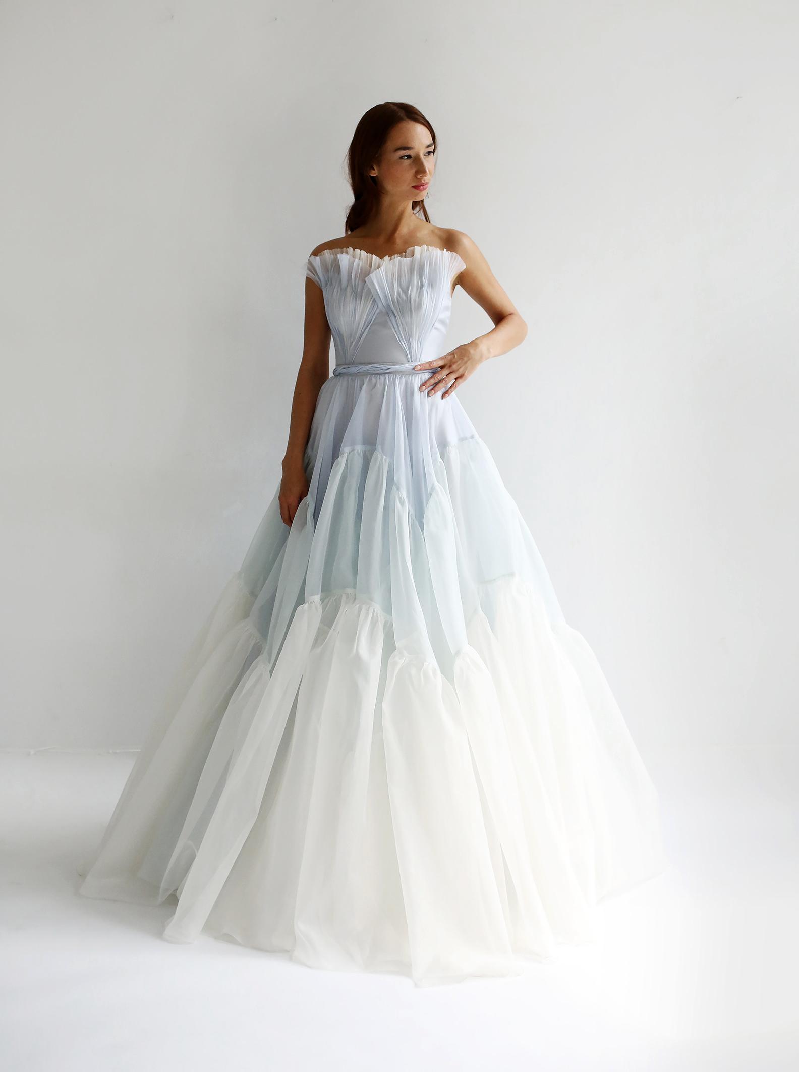 leanne marshall wedding dress spring 2019 strapless ruffles a-line blue