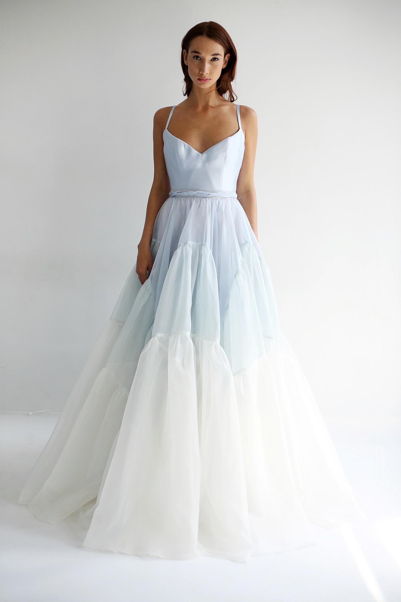leanne marshall wedding dress spring 2019 spaghetti strap ruffles a-line blue