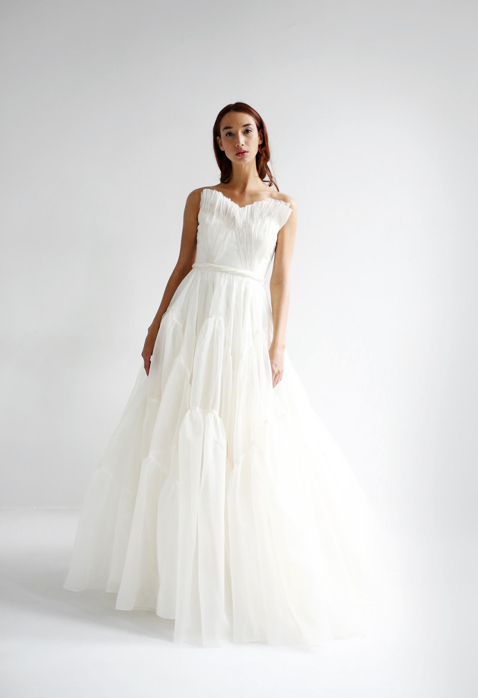 leanne marshall wedding dress spring 2019 strapless ruffles a-line