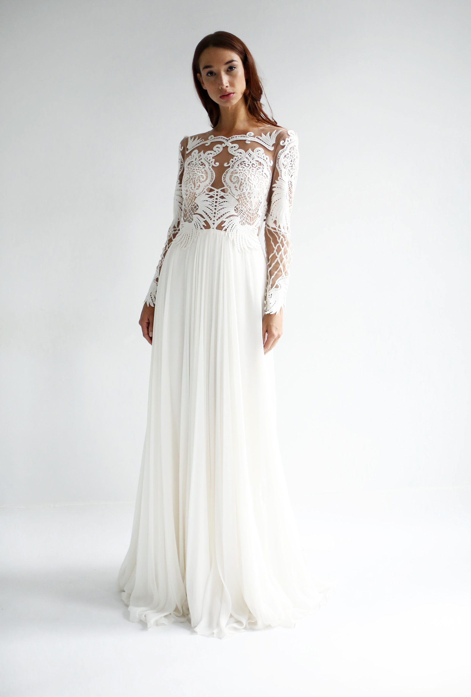 leanne marshall wedding dress spring 2019 lace long sleeves a-line
