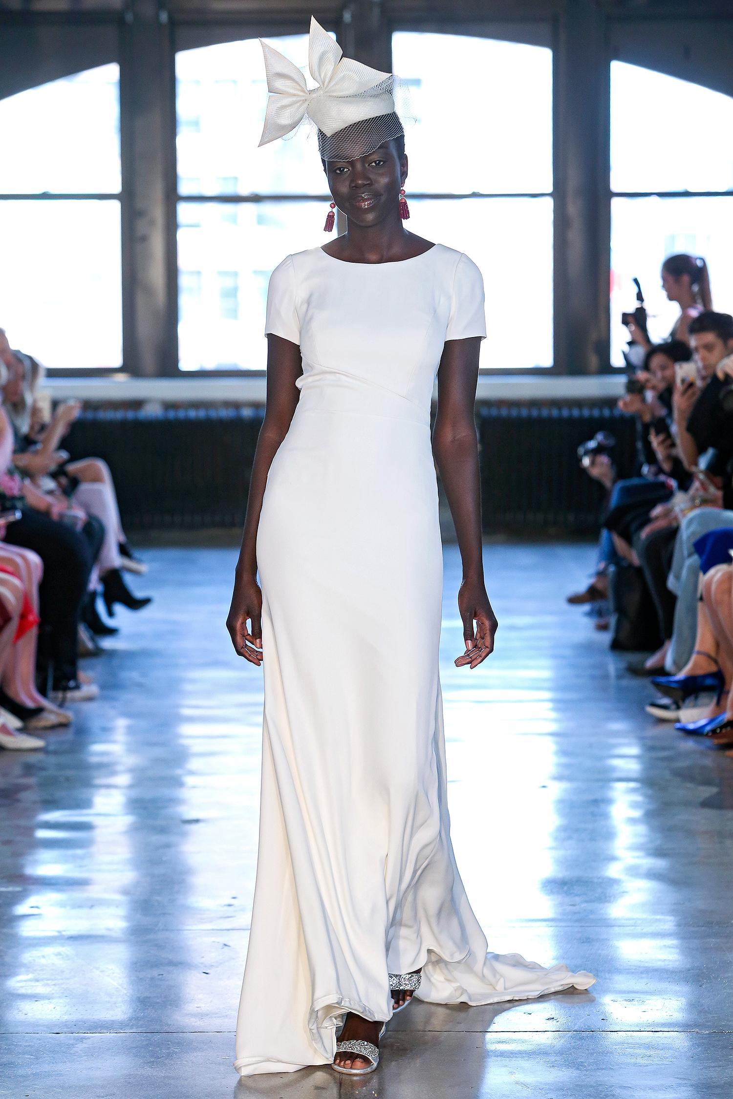 watters wedding dress spring 2019 short-sleeve scoop-neck sheath