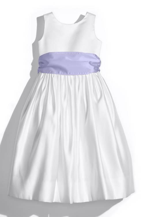 Us Angels White Tank Dress With Lilac Satin Sash