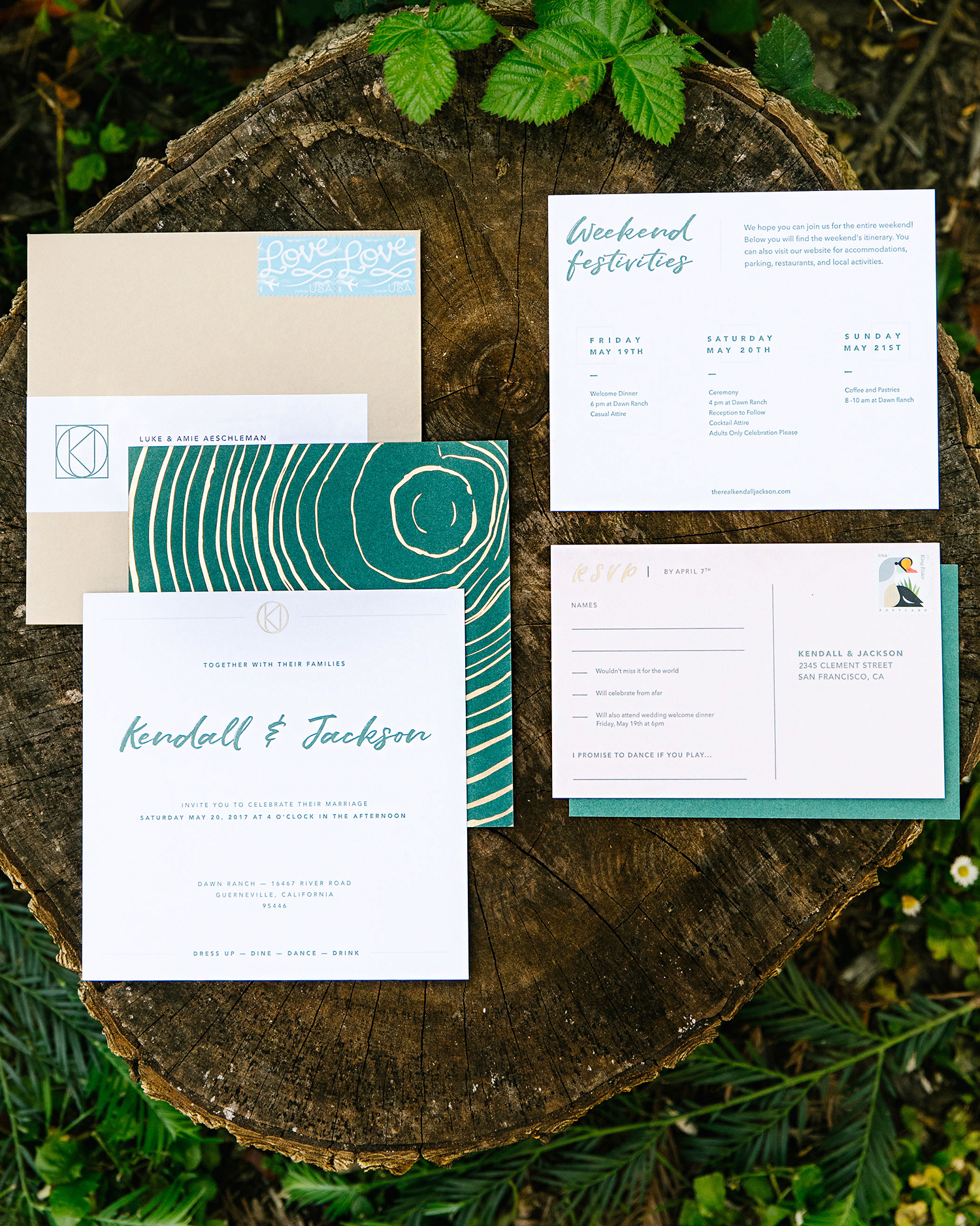 kendall jackson wedding invitation