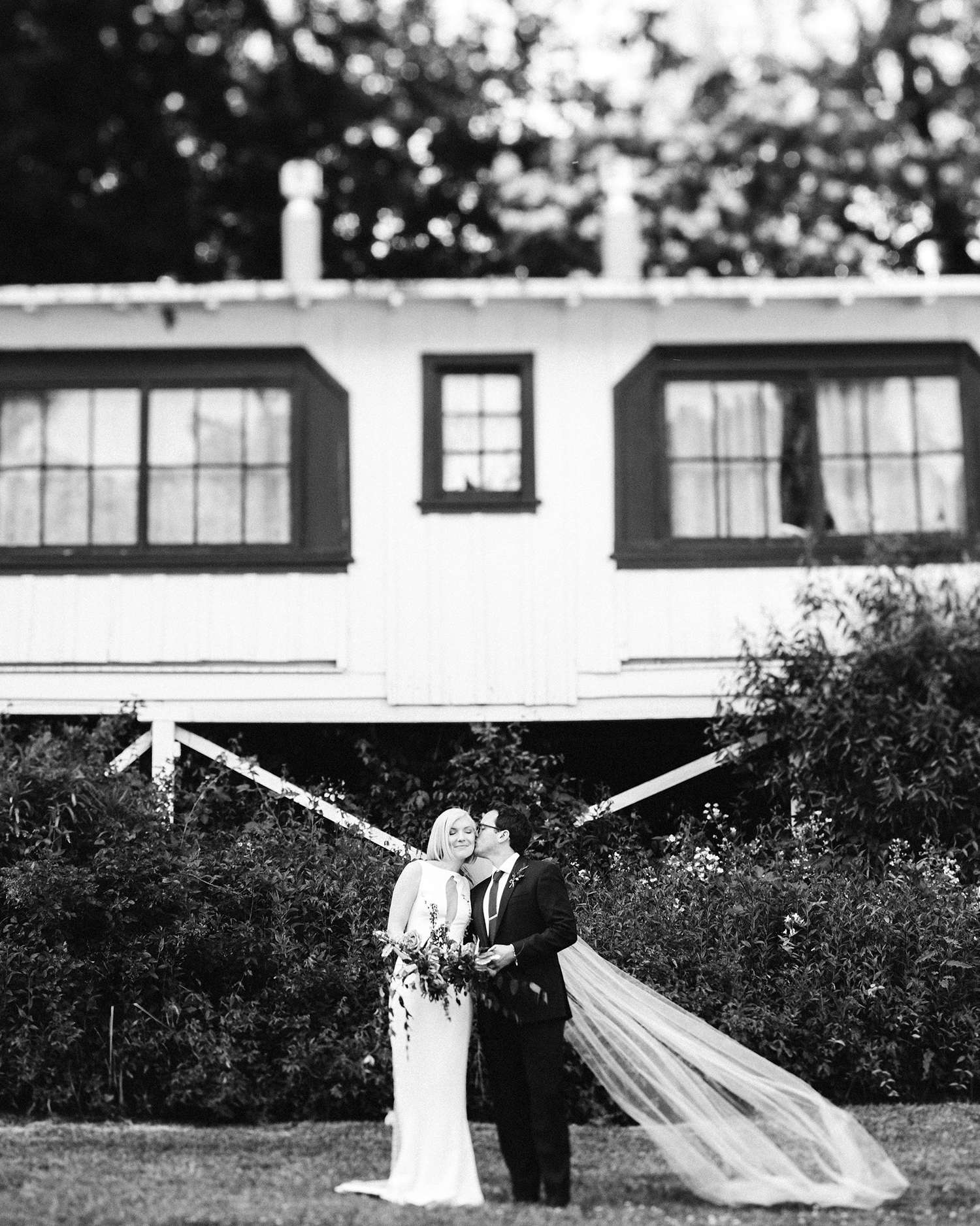 kendall jackson wedding couple black and white