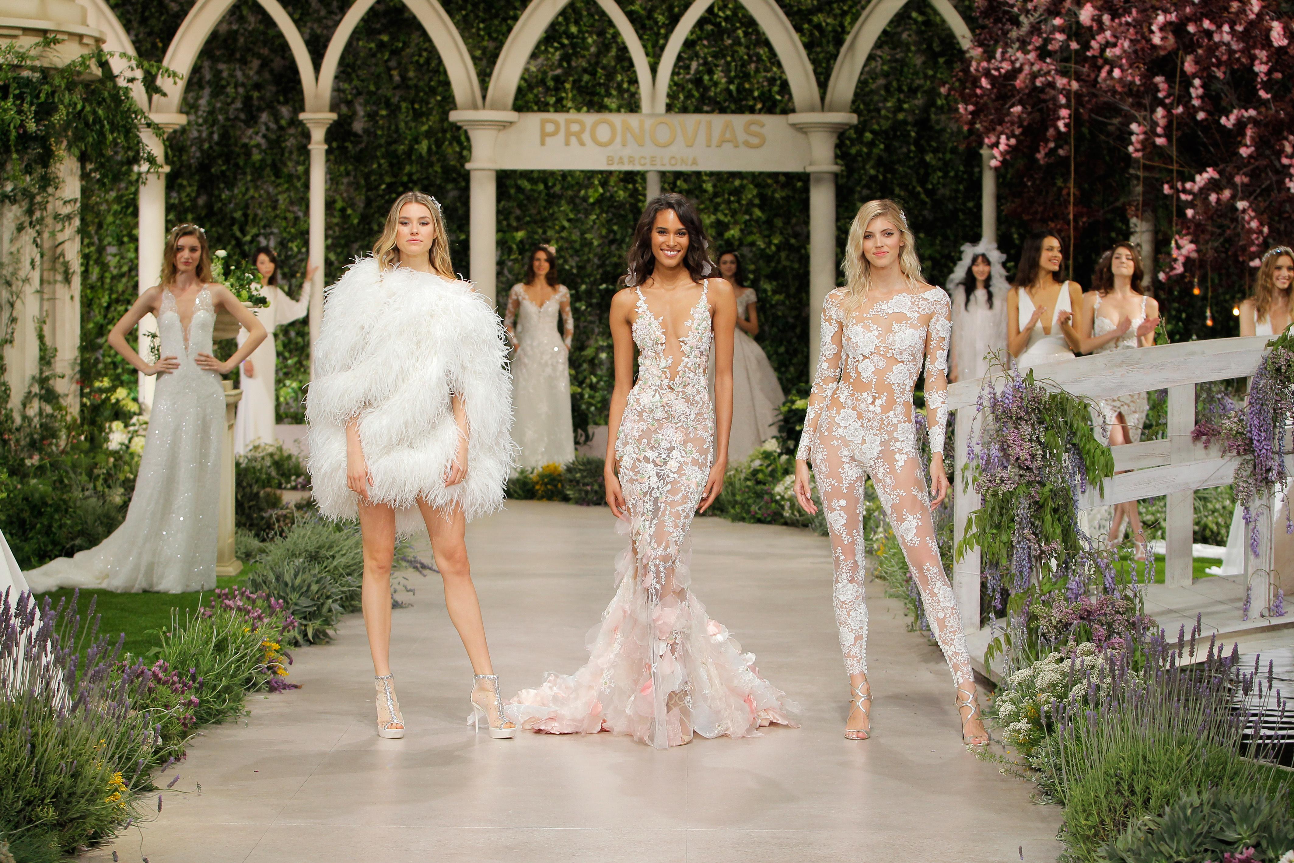pronovias wedding dress spring 2019 feathers lace