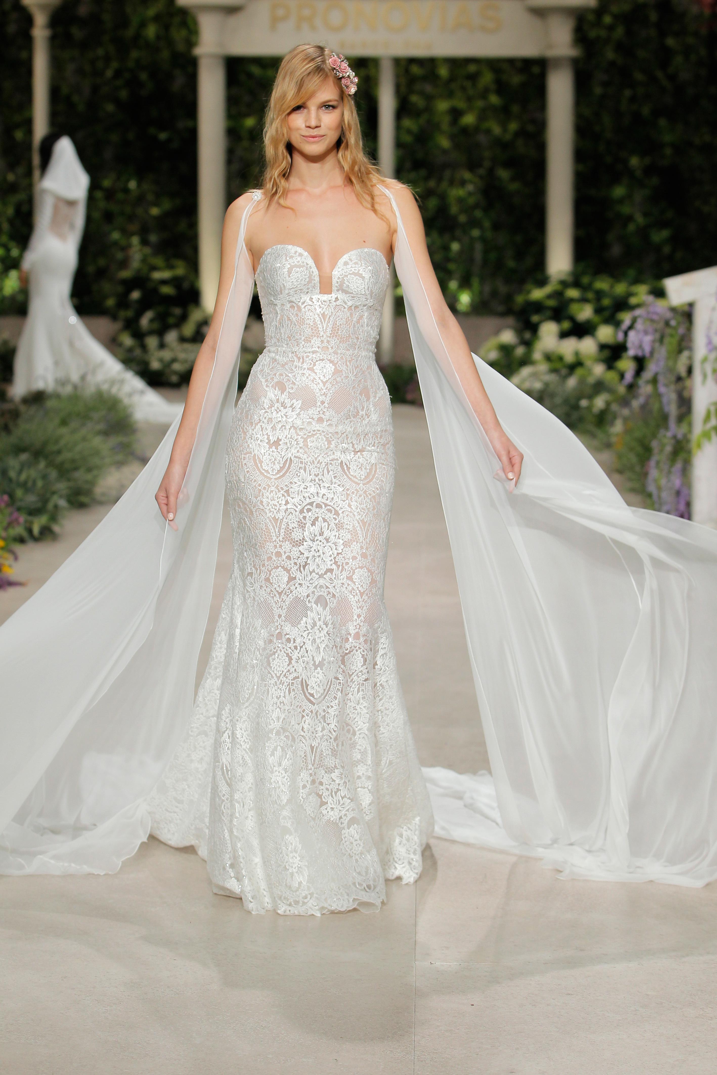 pronovias wedding dress spring 2019 lace sweetheart