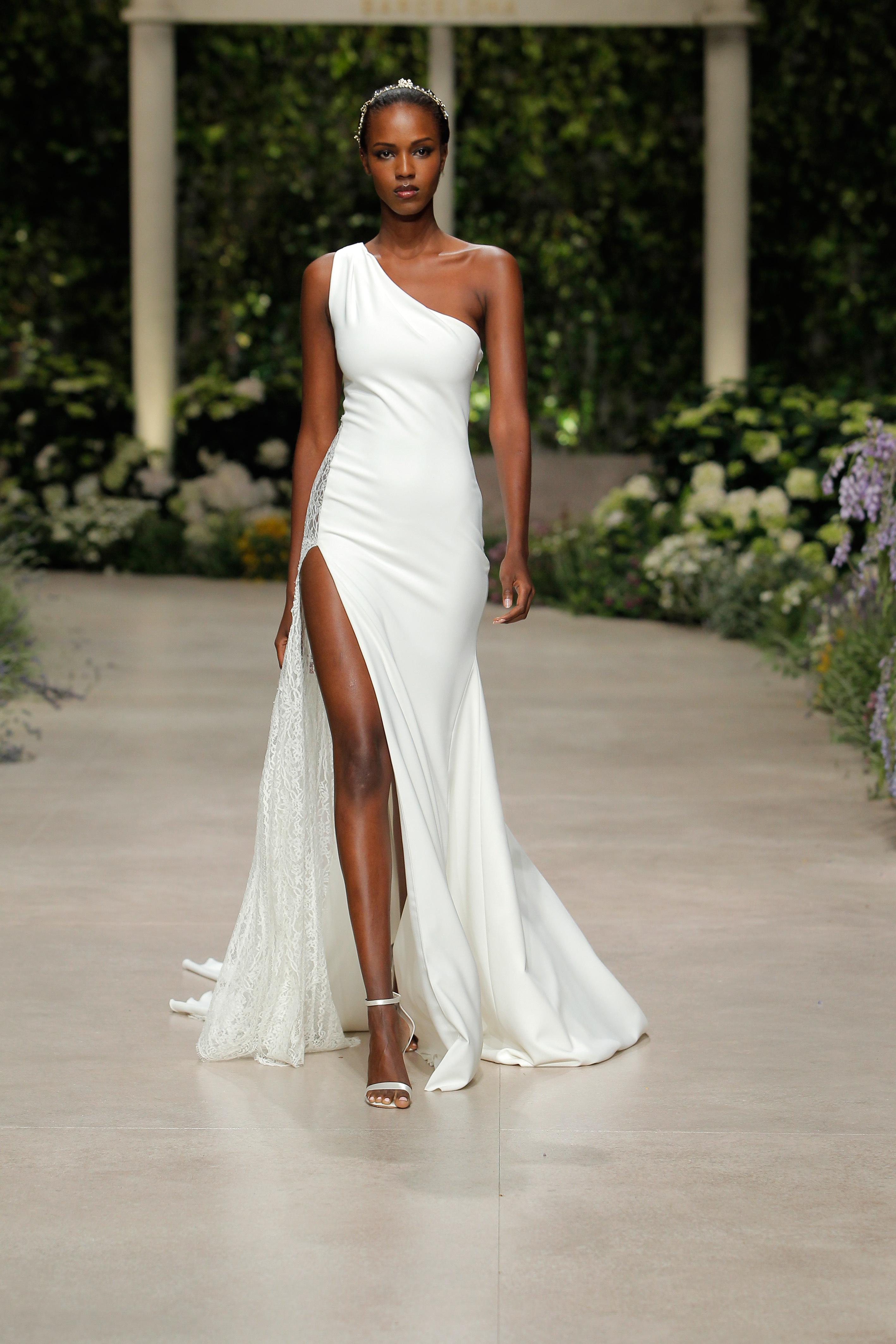 pronovias wedding dress spring 2019 one shoulder sheath