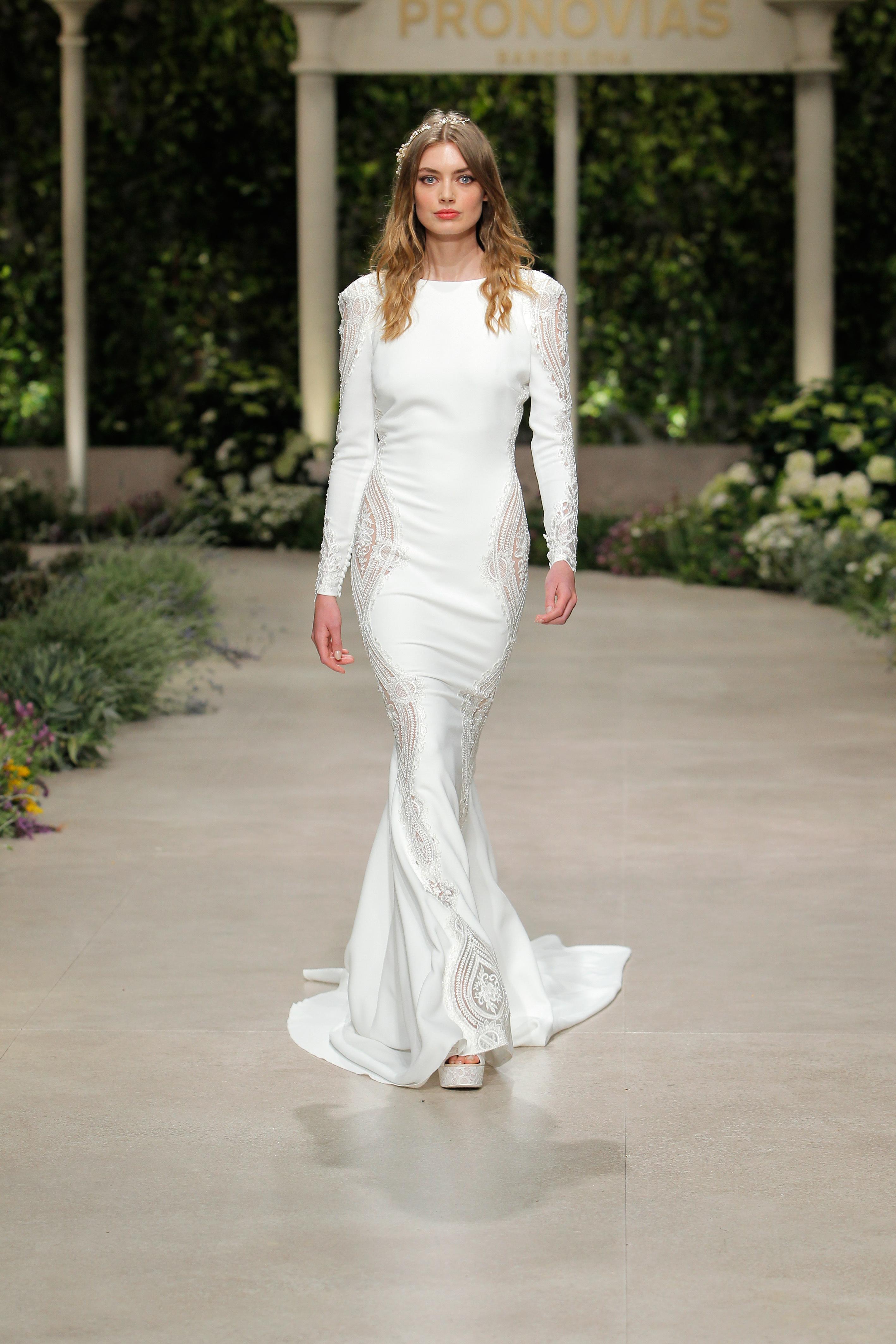 pronovias wedding dress spring 2019 long sleeve sheath