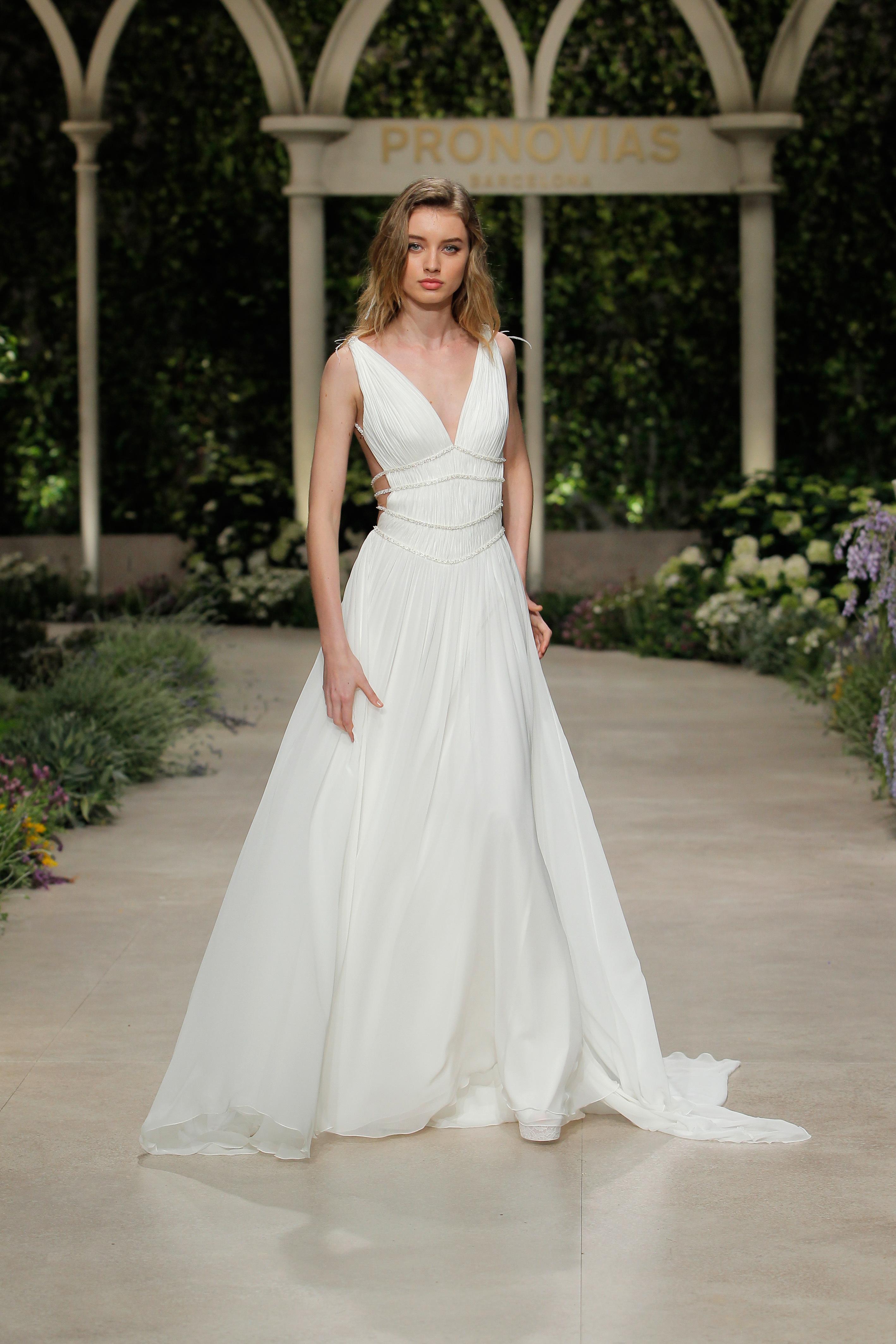 pronovias wedding dress spring 2019 a-line v-neck