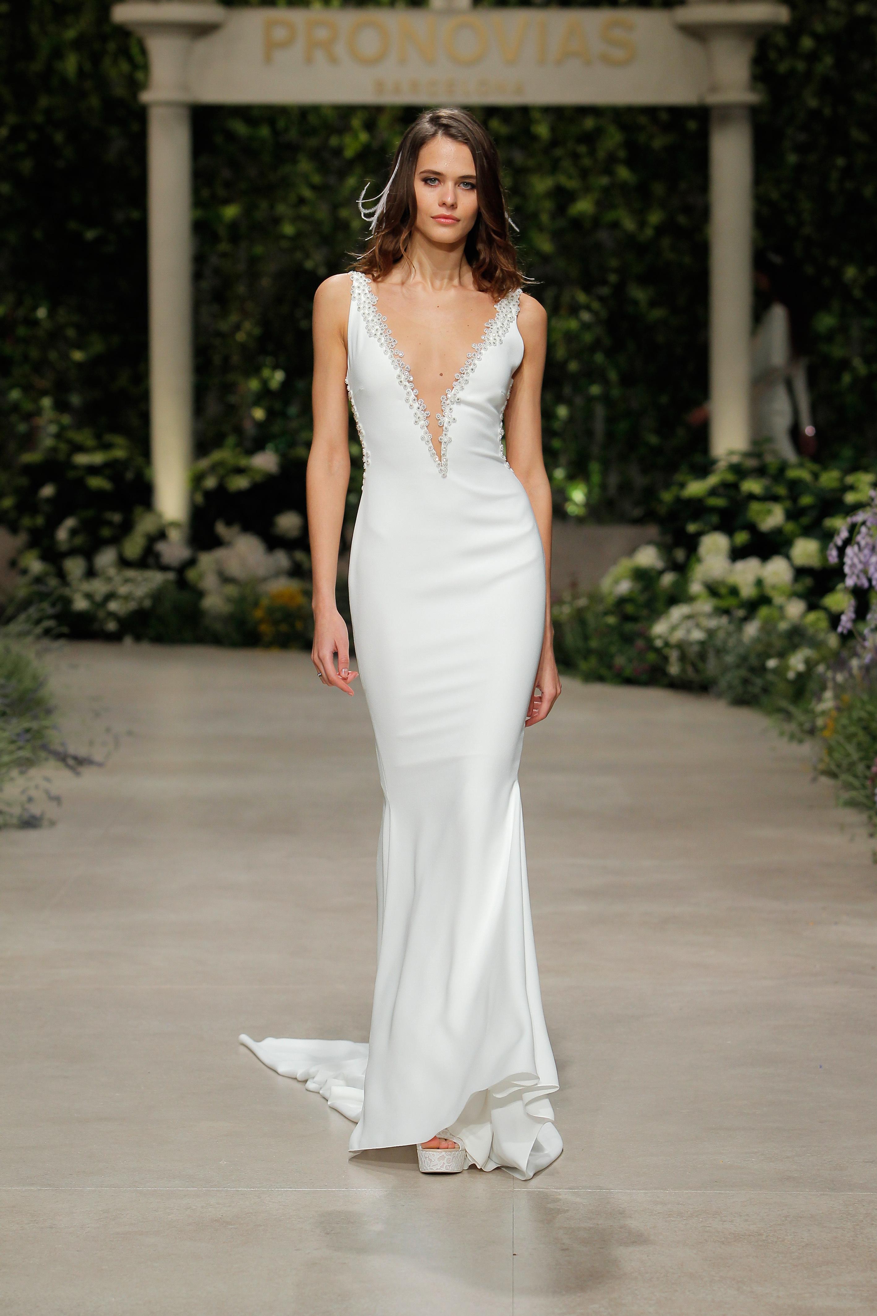 pronovias wedding dress spring 2019 v-neck sheath