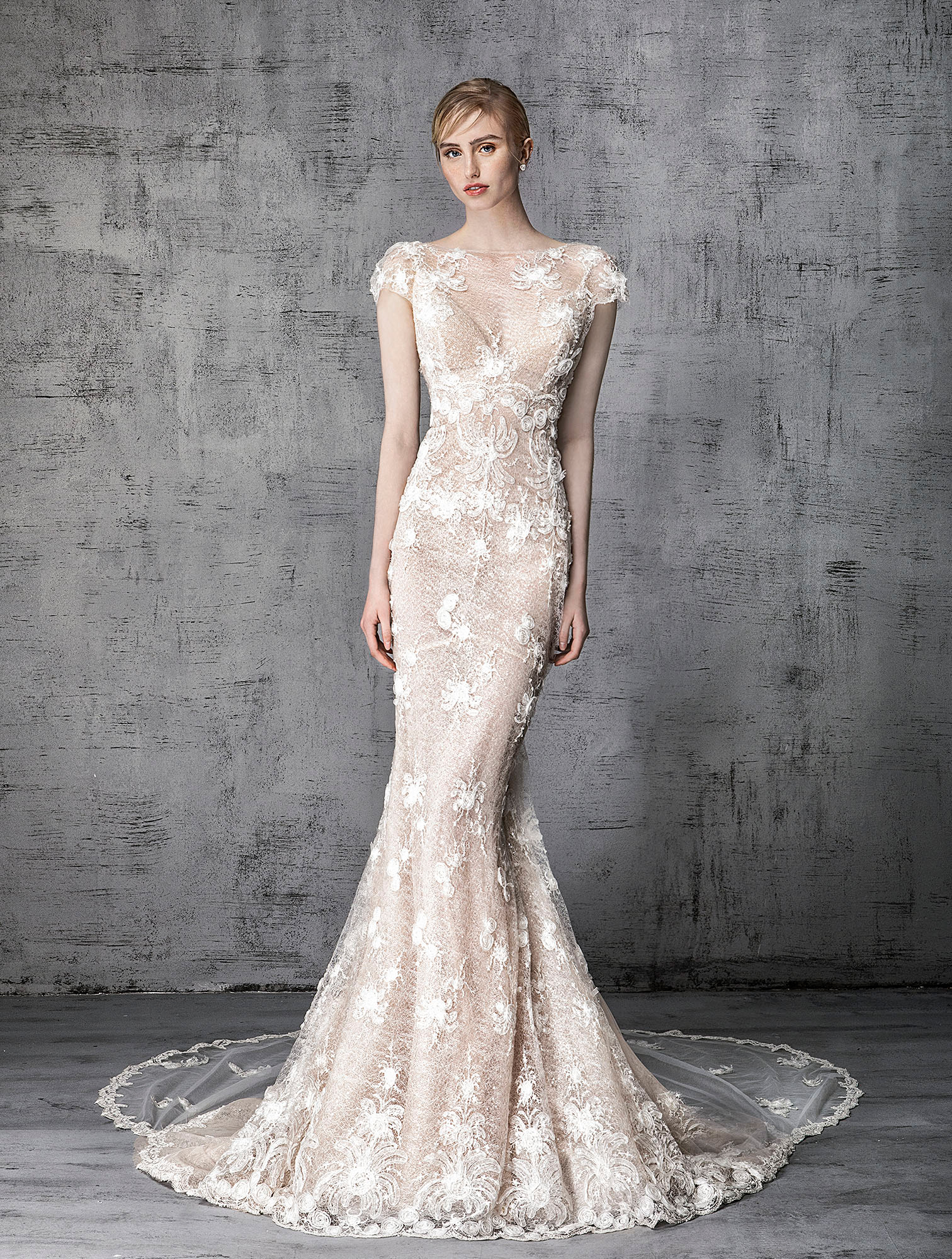 victoria kyriakides wedding dress spring 2019 cap-sleeve lace overlay