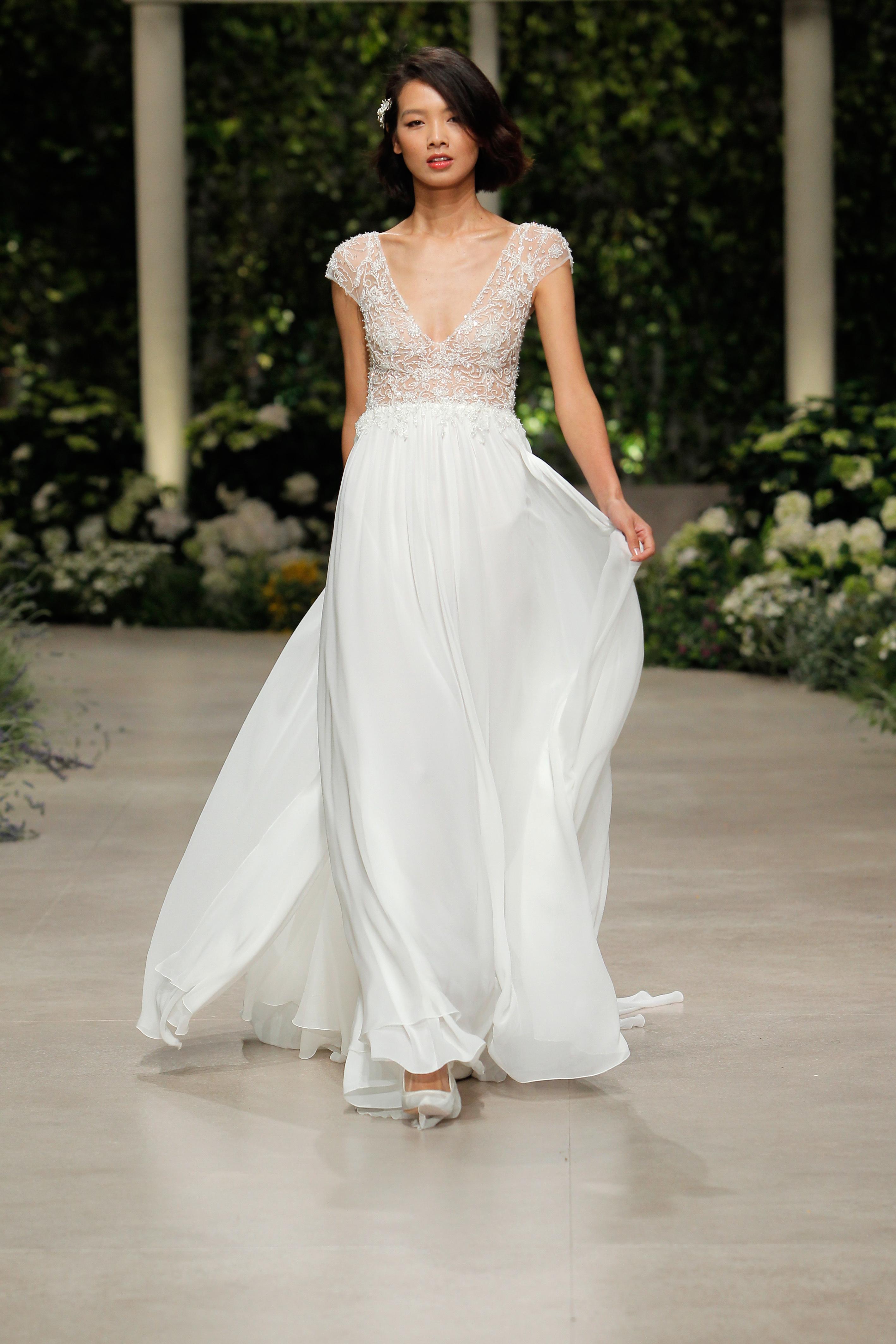 pronovias wedding dress spring 2019 cap sleeve v-neck lace