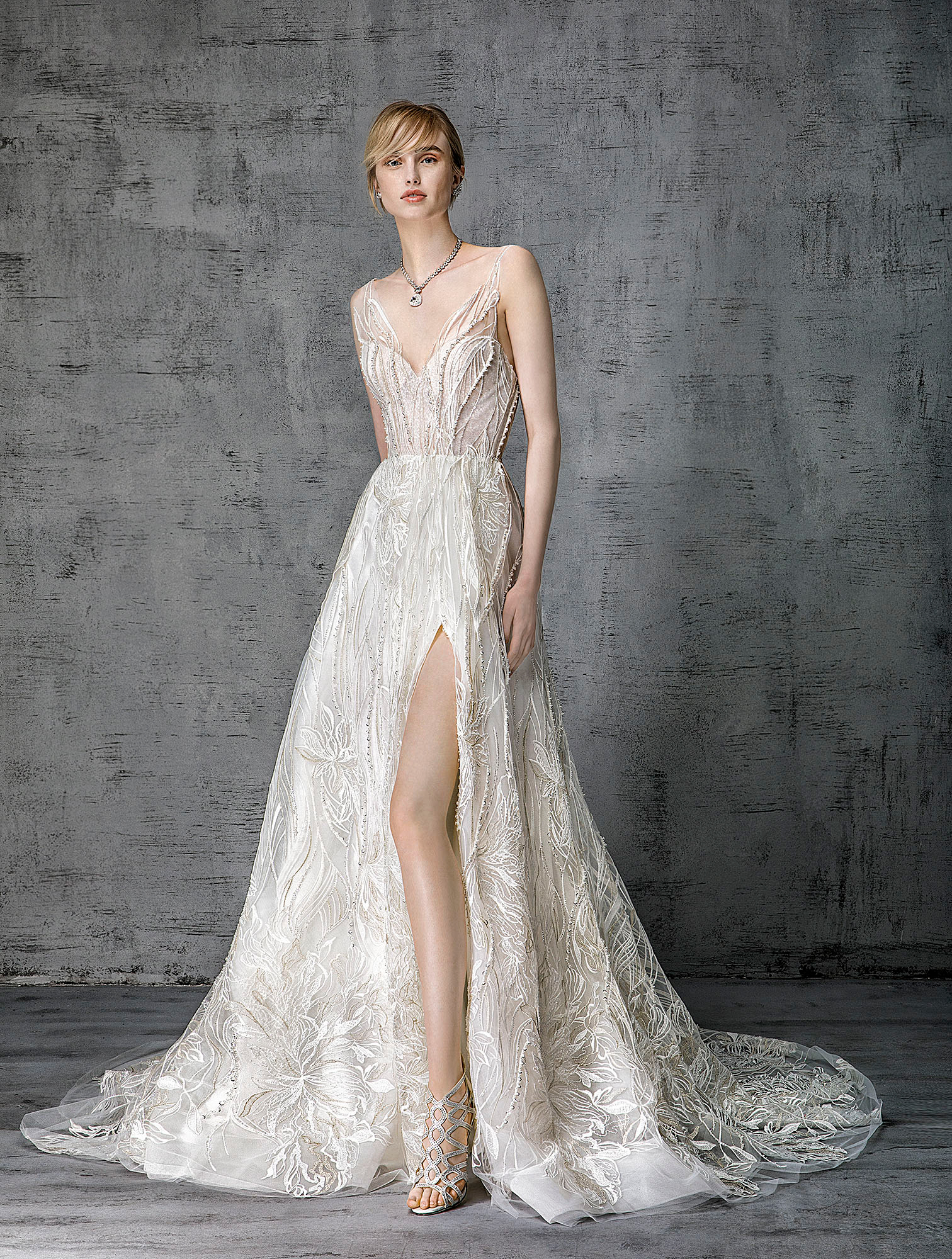 victoria kyriakides wedding dress spring 2019 v-neck embroidered high slit