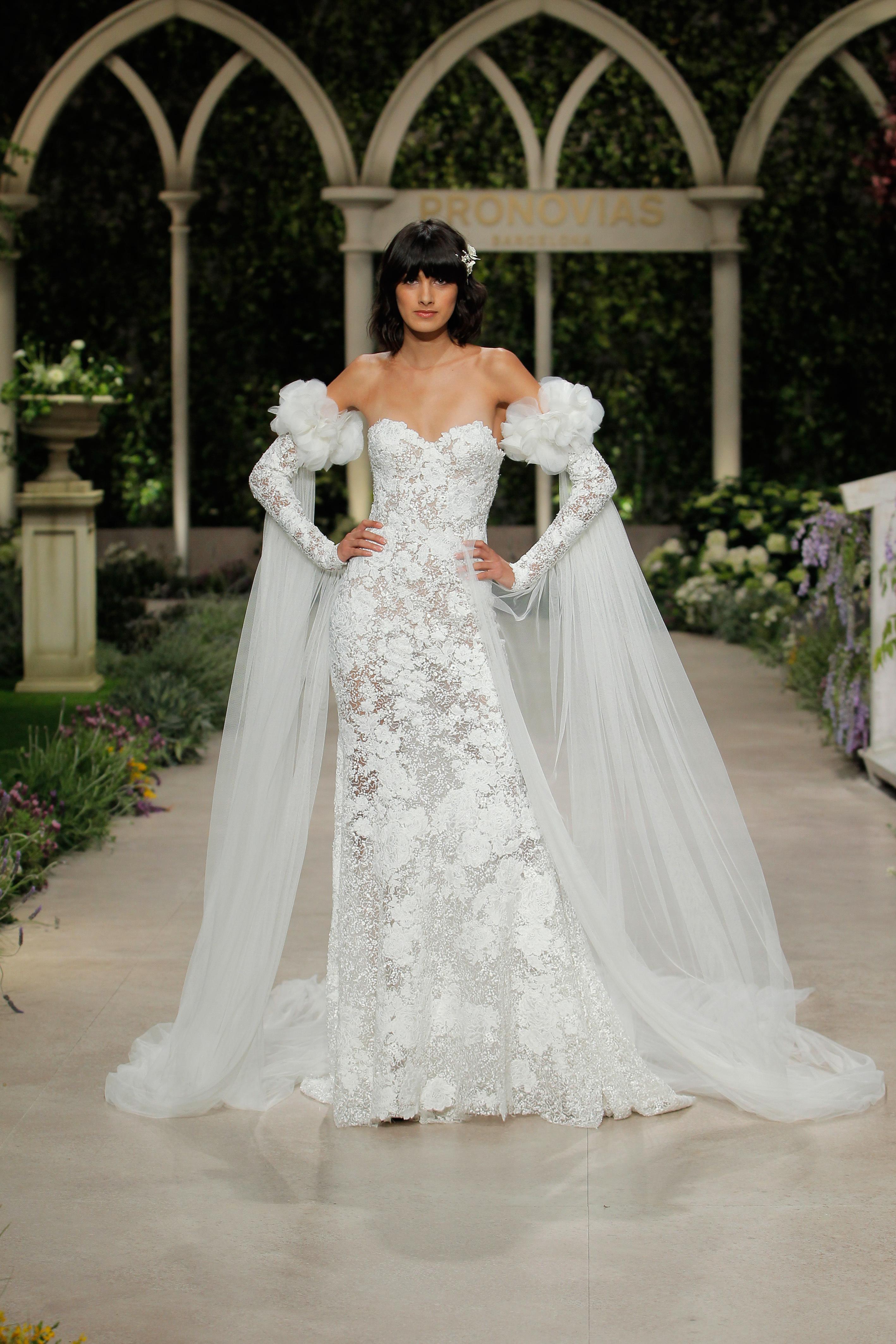 pronovias wedding dress spring 2019 lace detached sleeves