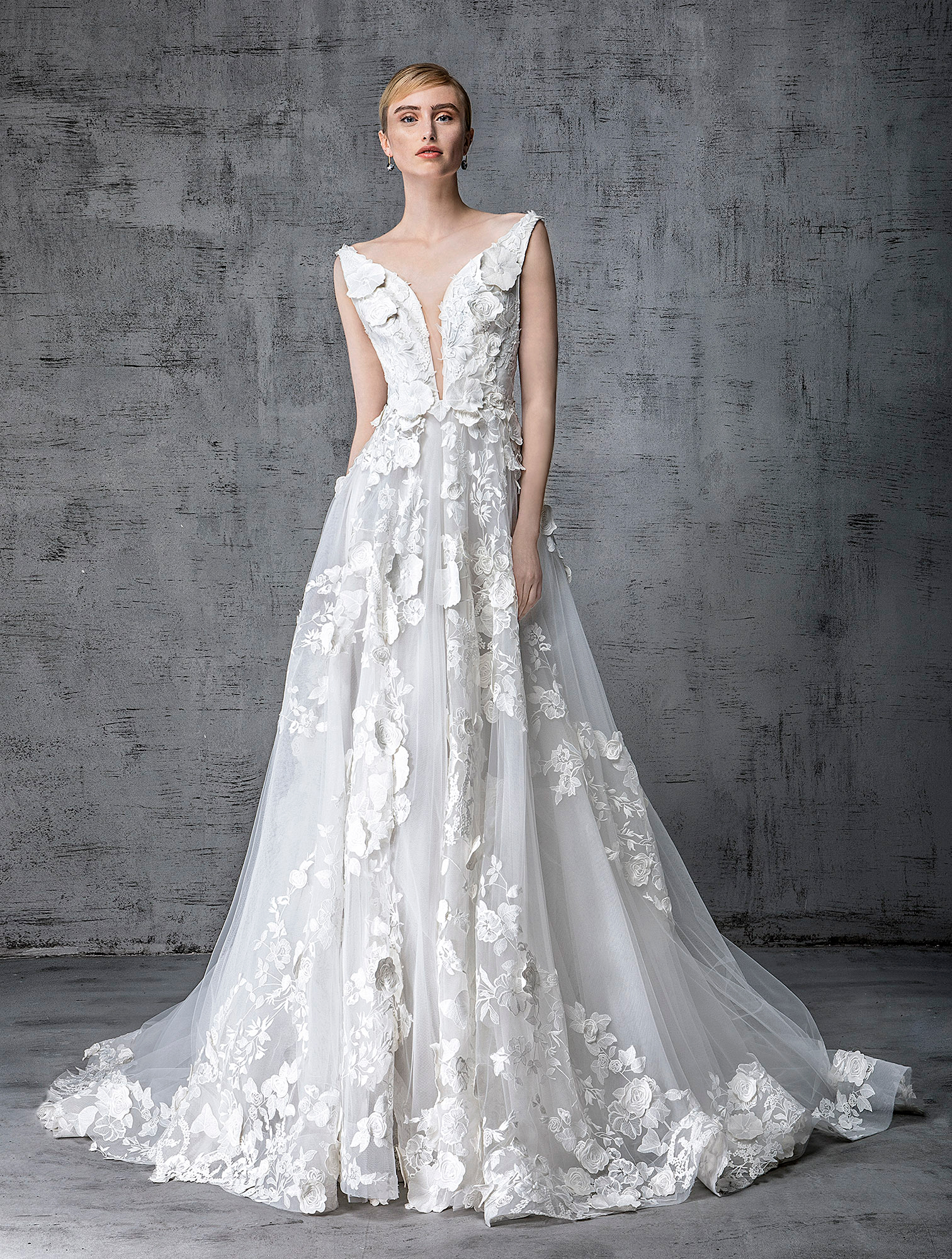 victoria kyriakides wedding dress spring 2019 plunging neck floral appliques