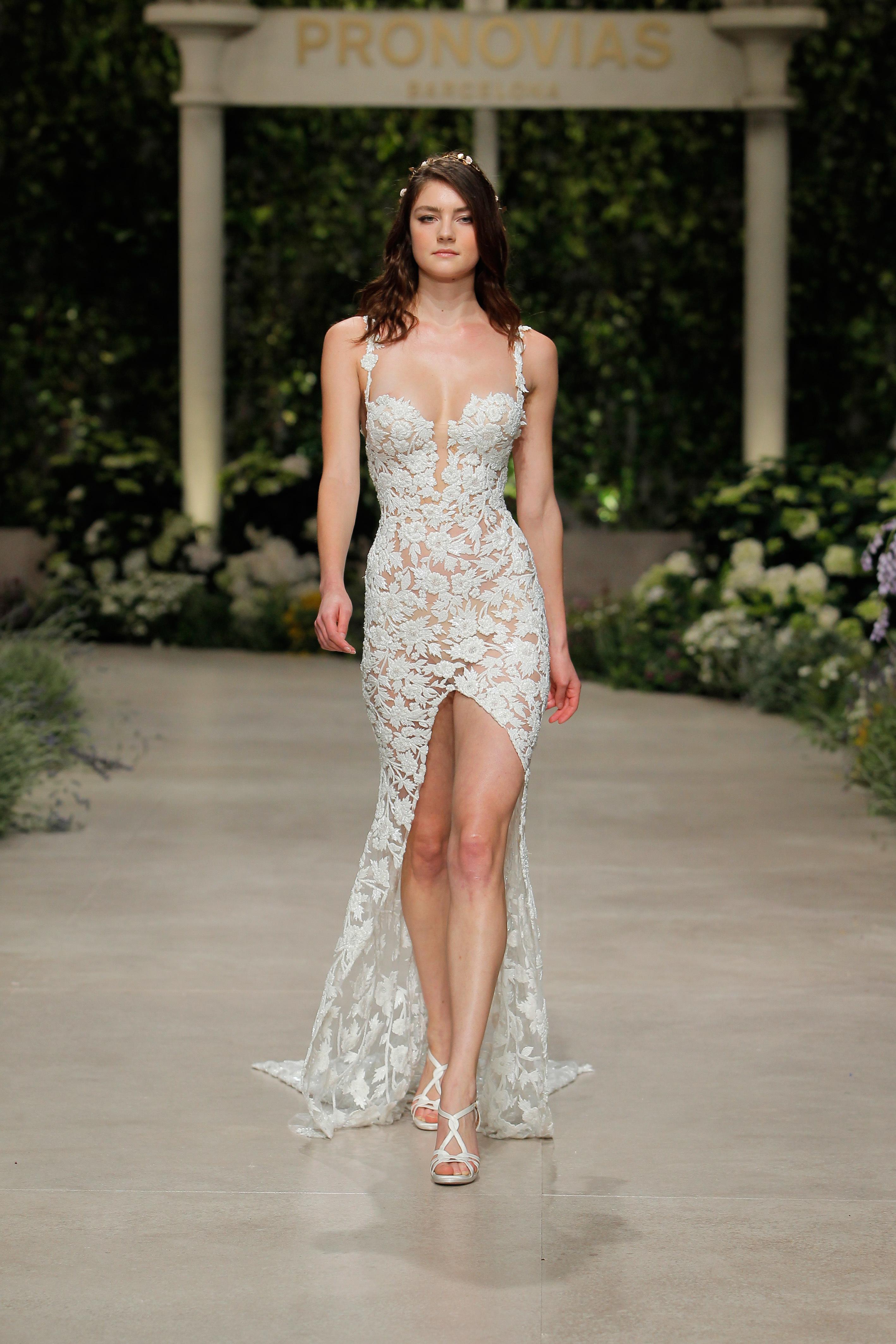 pronovias wedding dress spring 2019 lace sweetheart front slit