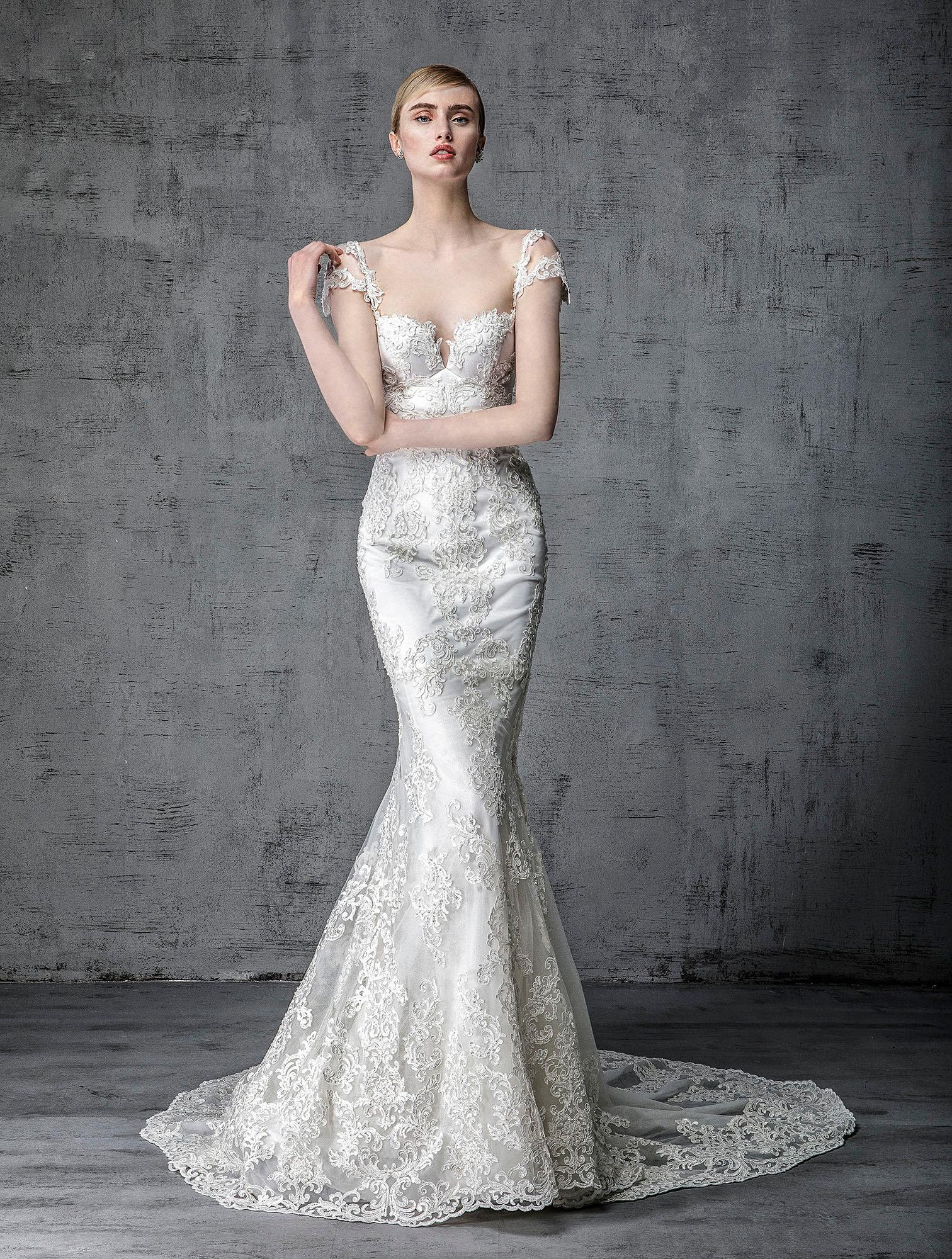 victoria kyriakides wedding dress spring 2019 cap-sleeved embroidered trumpet