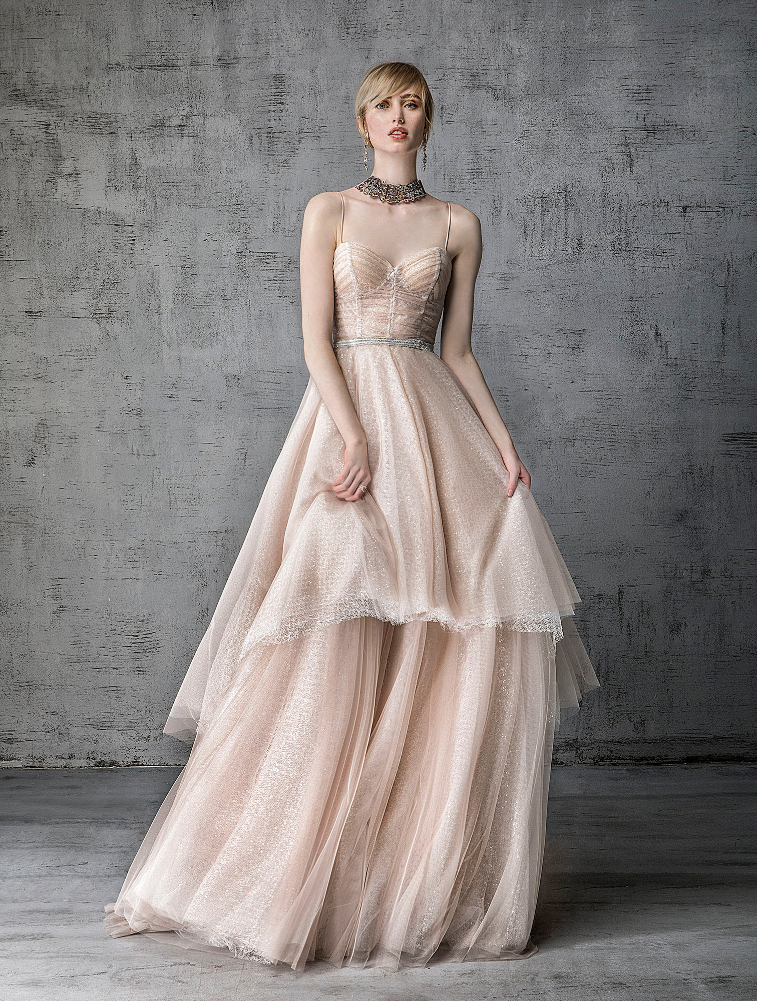 victoria kyriakides wedding dress spring 2019 tiered blush corseted bodice