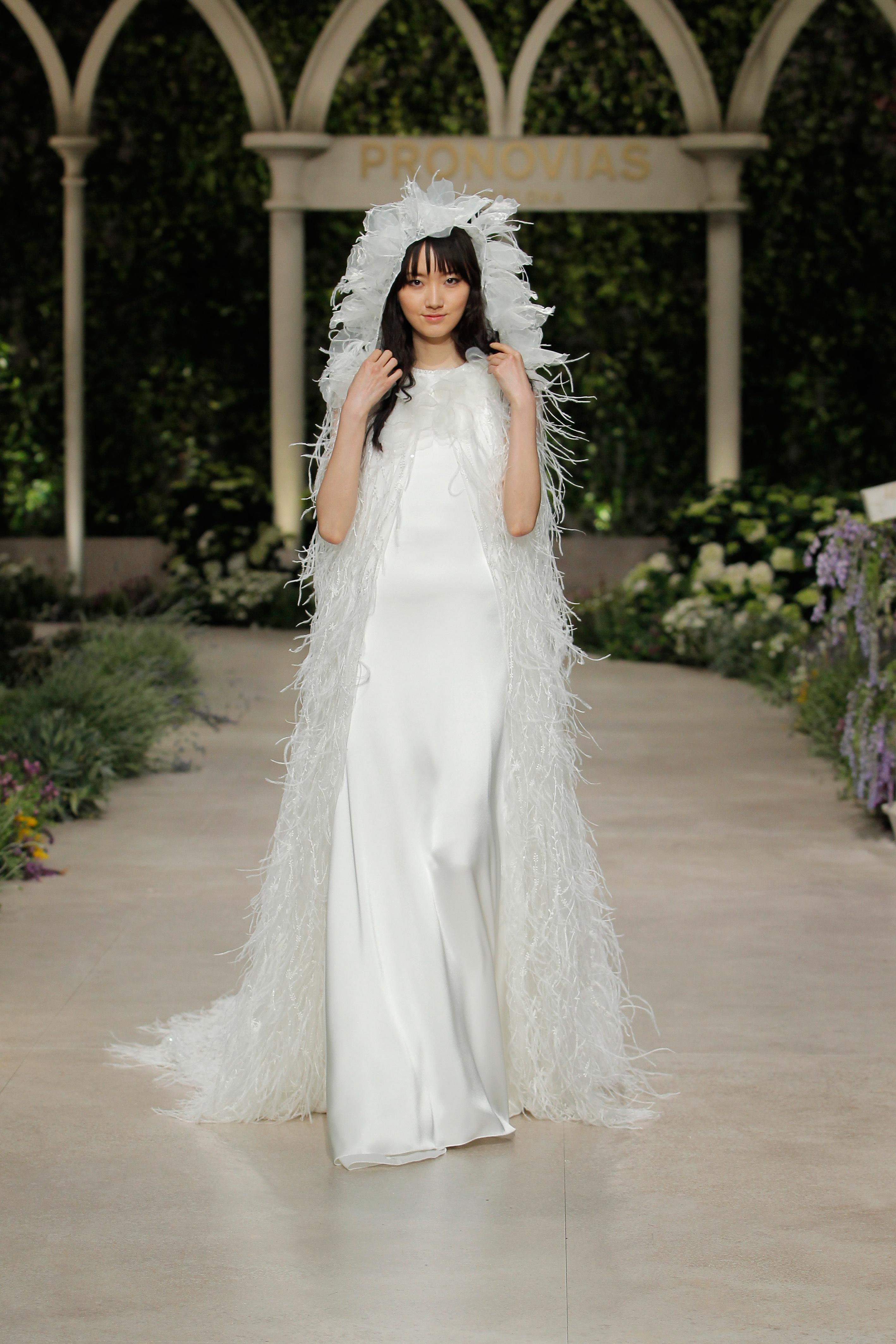 pronovias wedding dress spring 2019 feather veil sheath