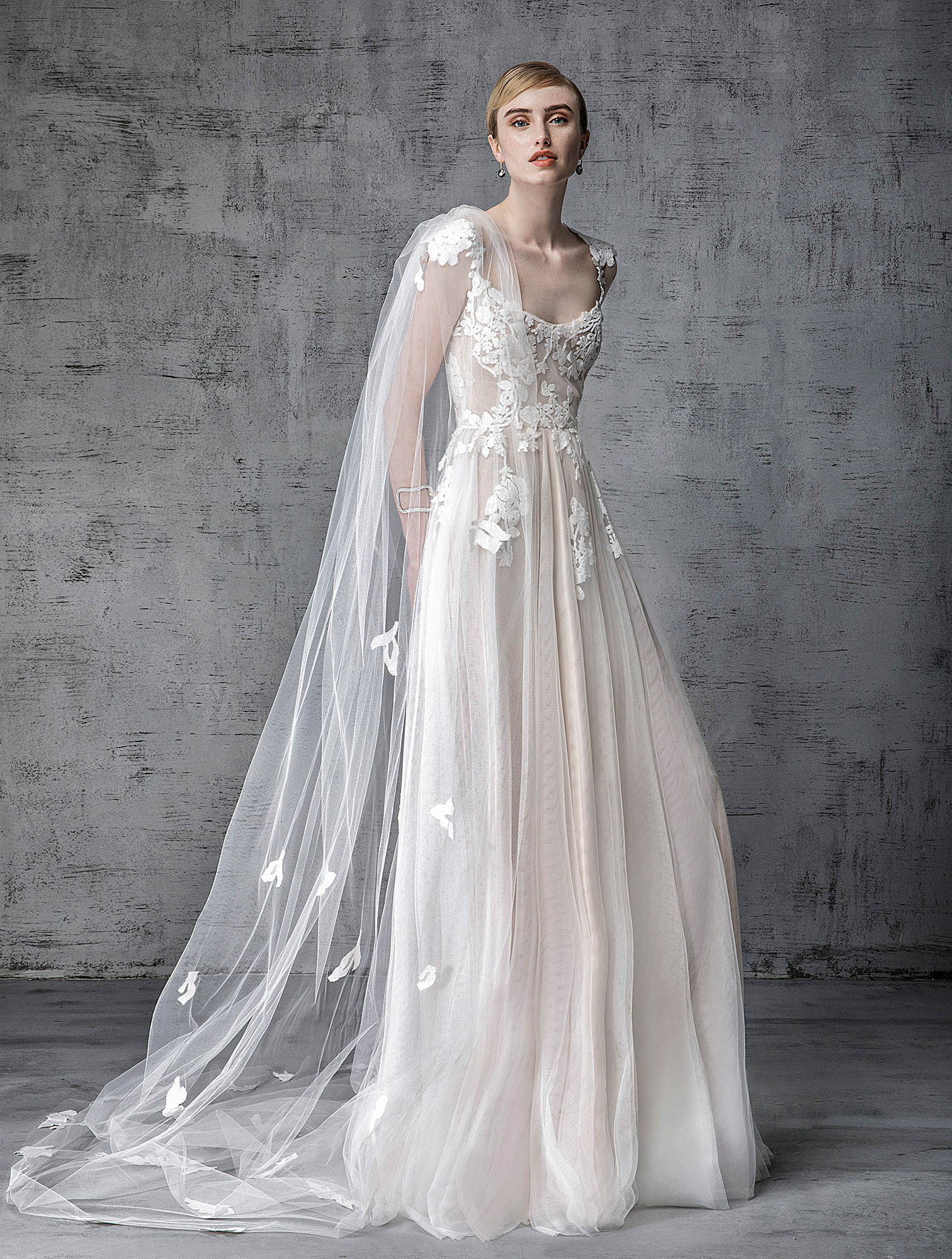 victoria kyriakides wedding dress spring 2019 cap-sleeved embroidered a-line