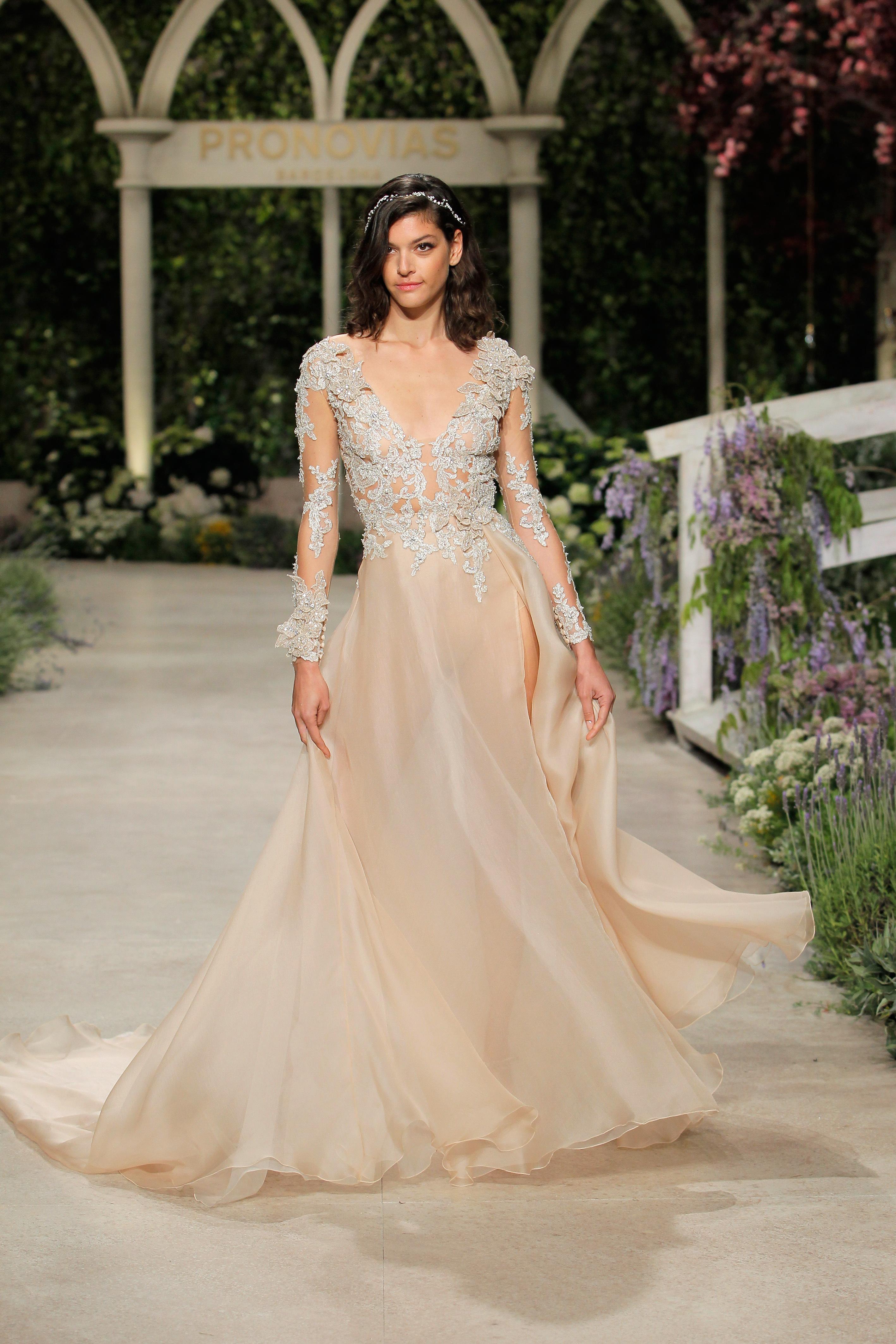pronovias wedding dress spring 2019 peach embroidered long sleeve