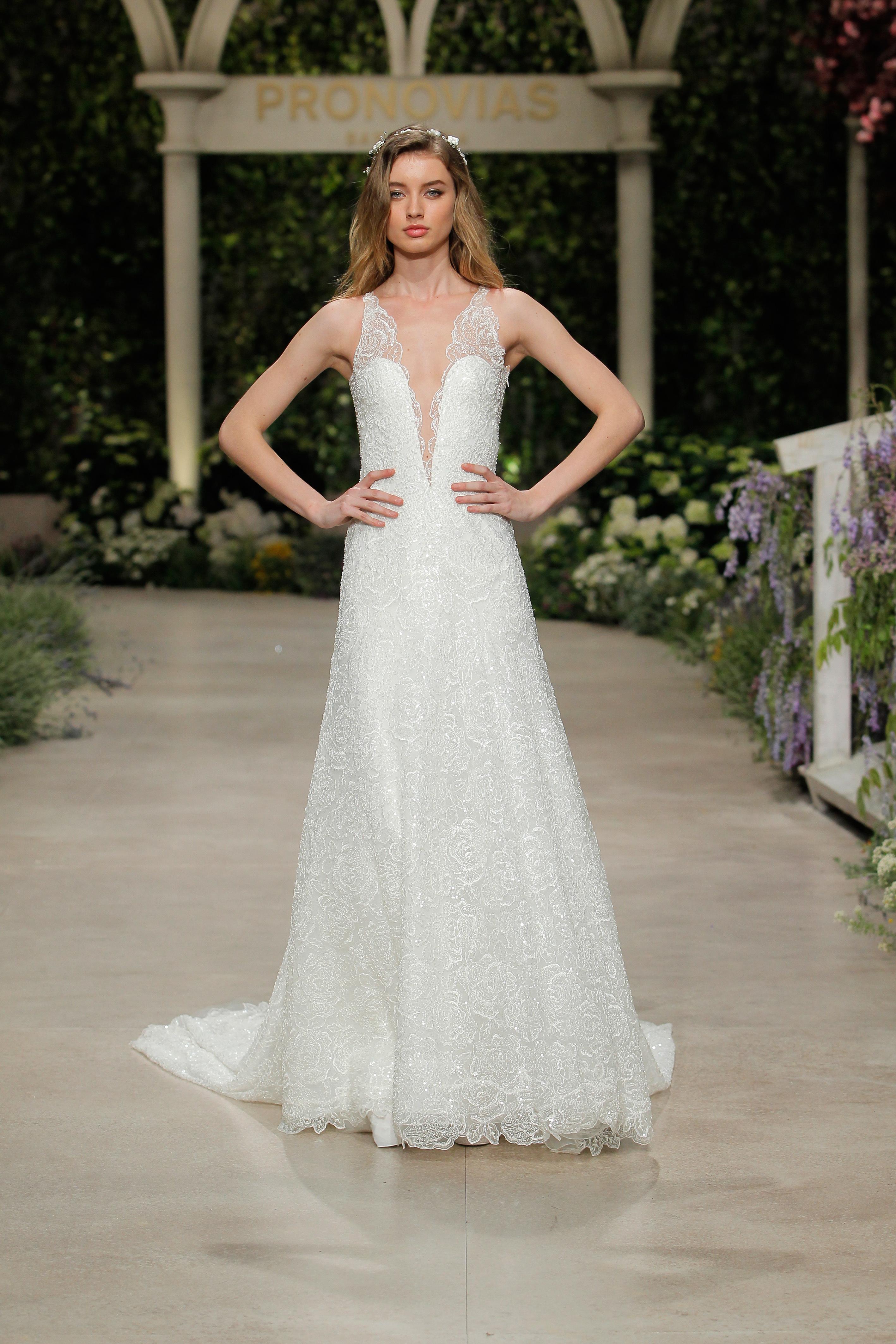 pronovias wedding dress spring 2019 v-neck embroidered