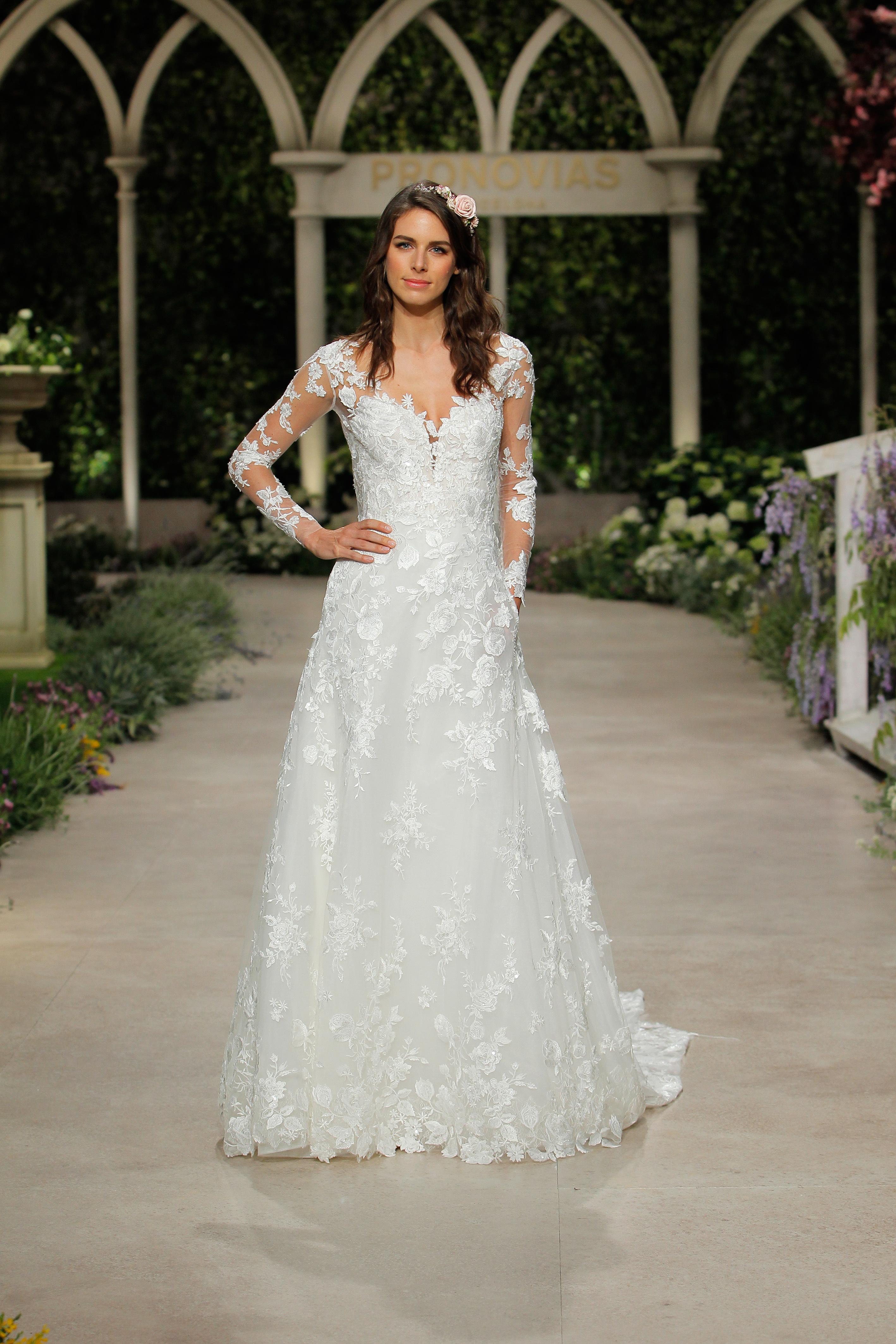 pronovias wedding dress spring 2019 long sleeve embroidered