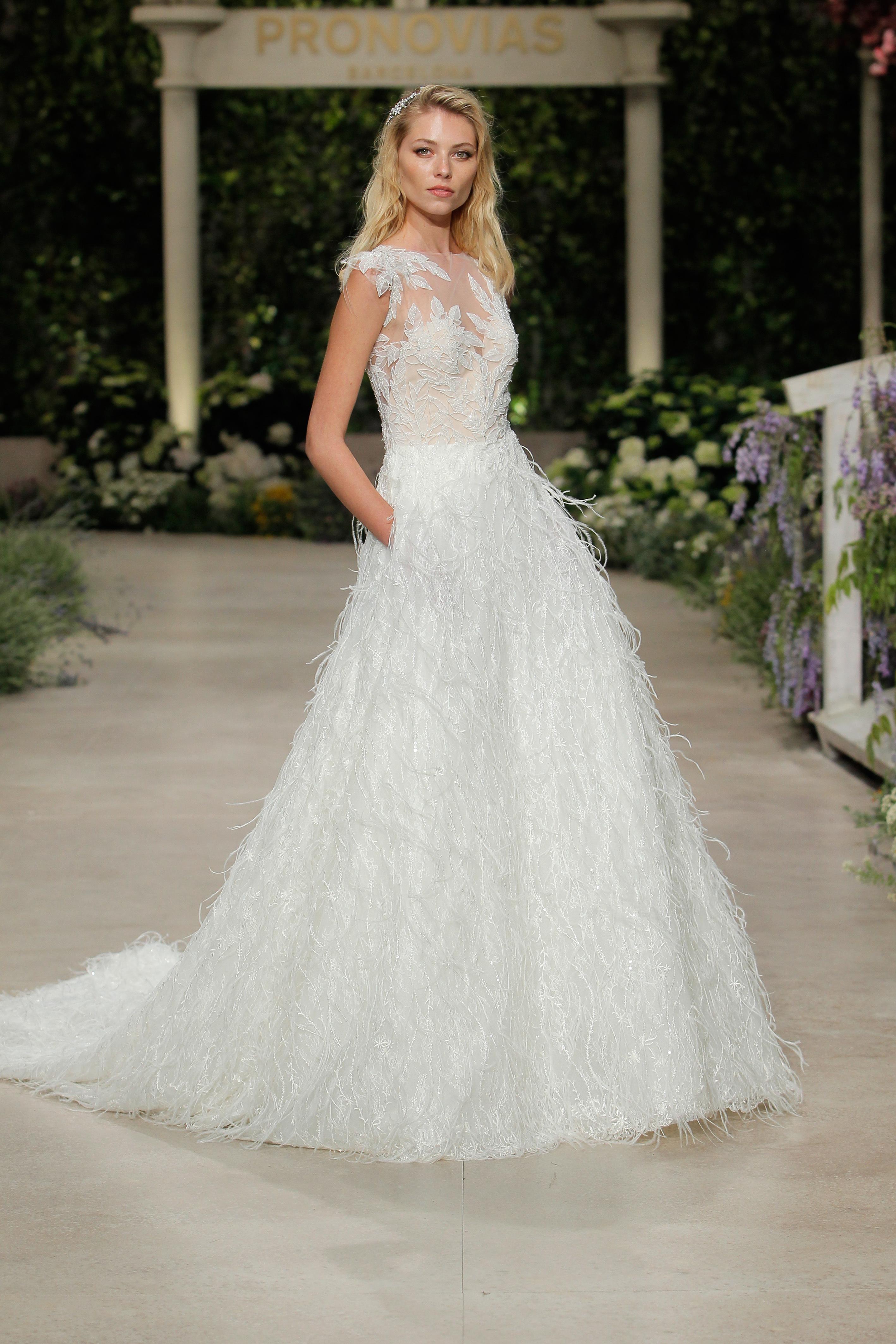 pronovias wedding dress spring 2019 illusion feathers
