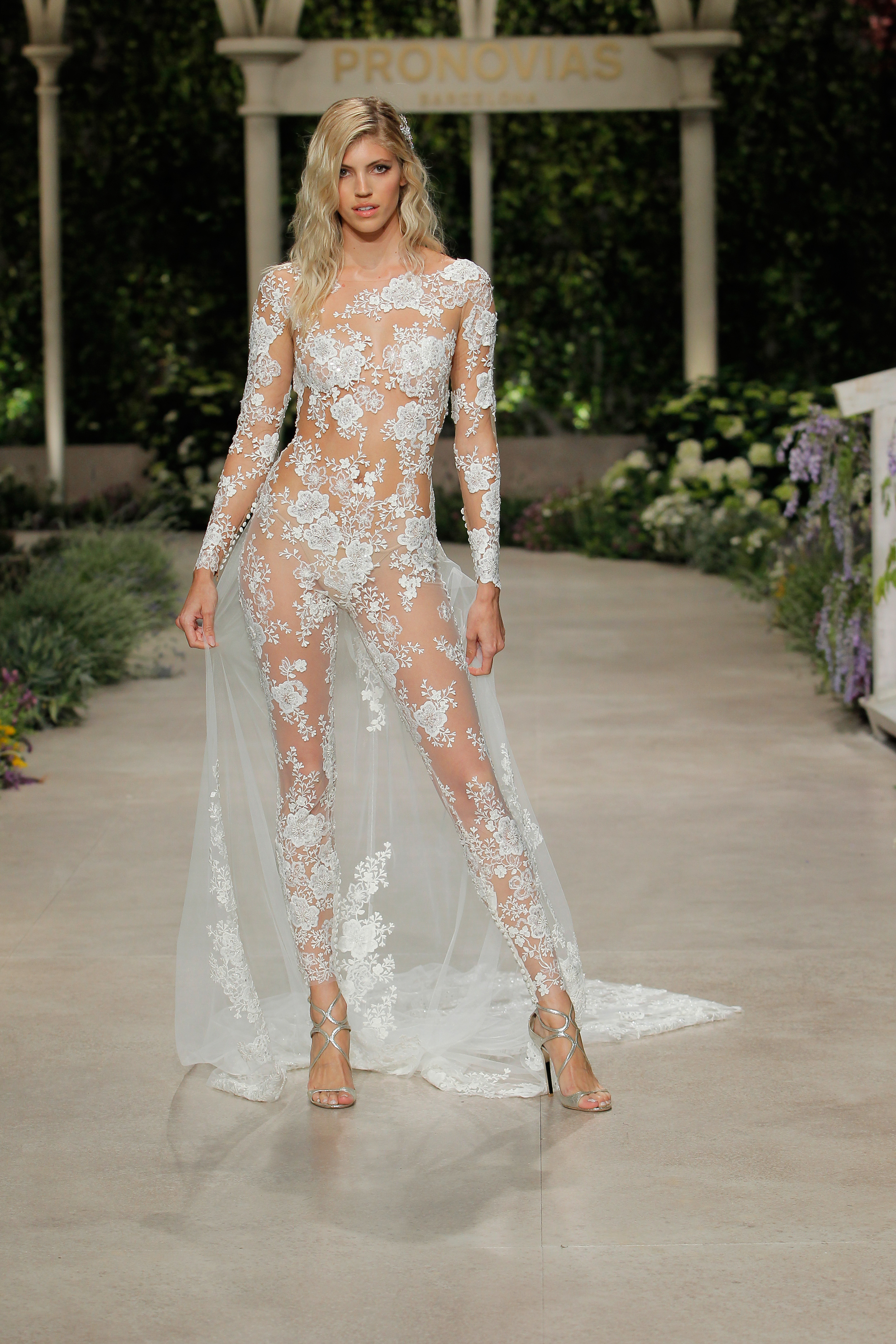 pronovias wedding dress spring 2019 sheer embroidered long sleeve
