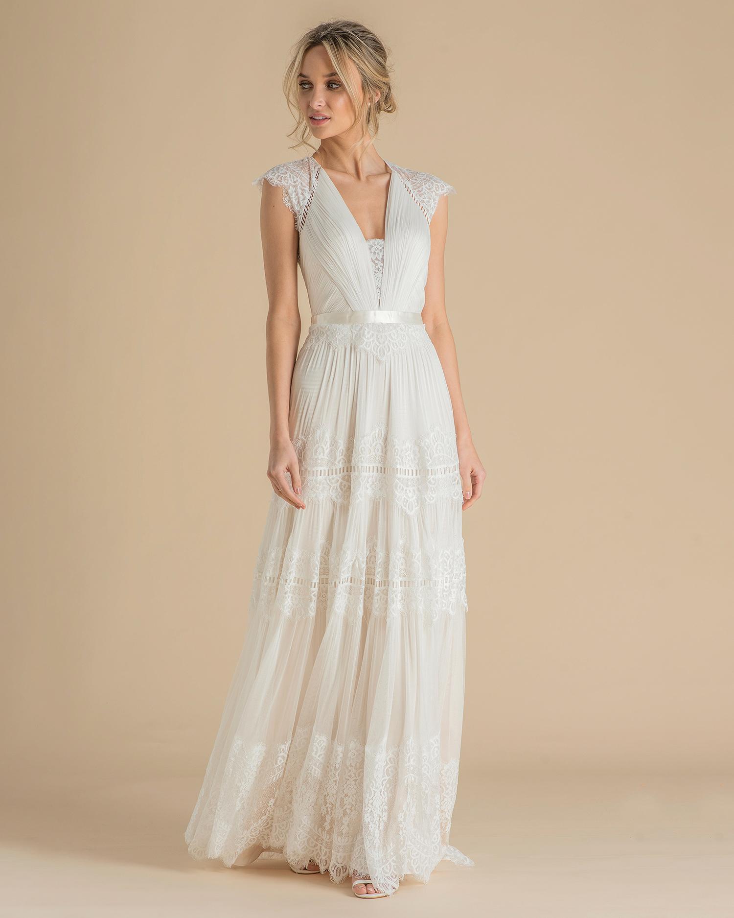 catherine deane wedding dress spring 2019 boho v-neck cap sleeve