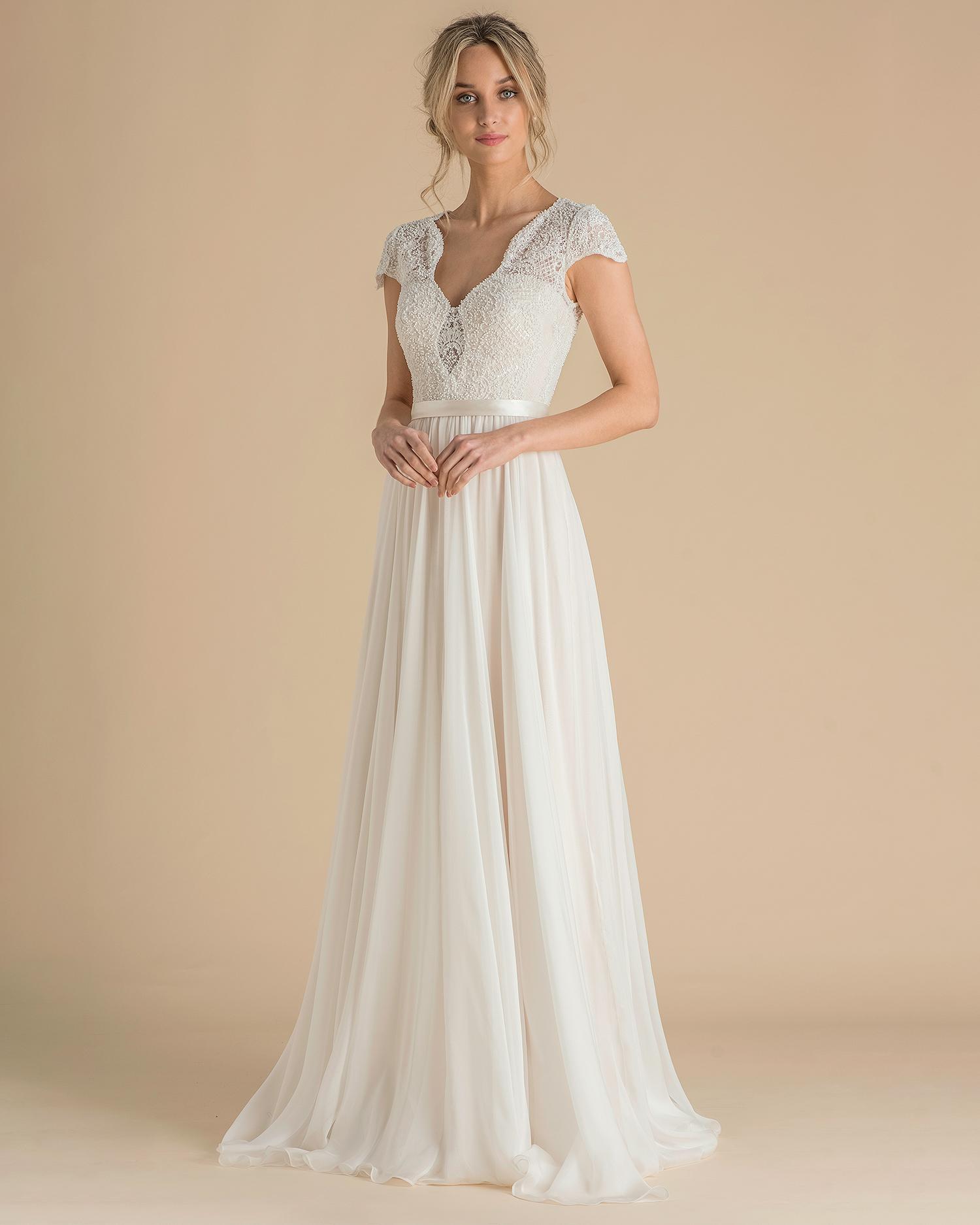 catherine deane wedding dress spring 2019 cap-sleeve beaded bodice
