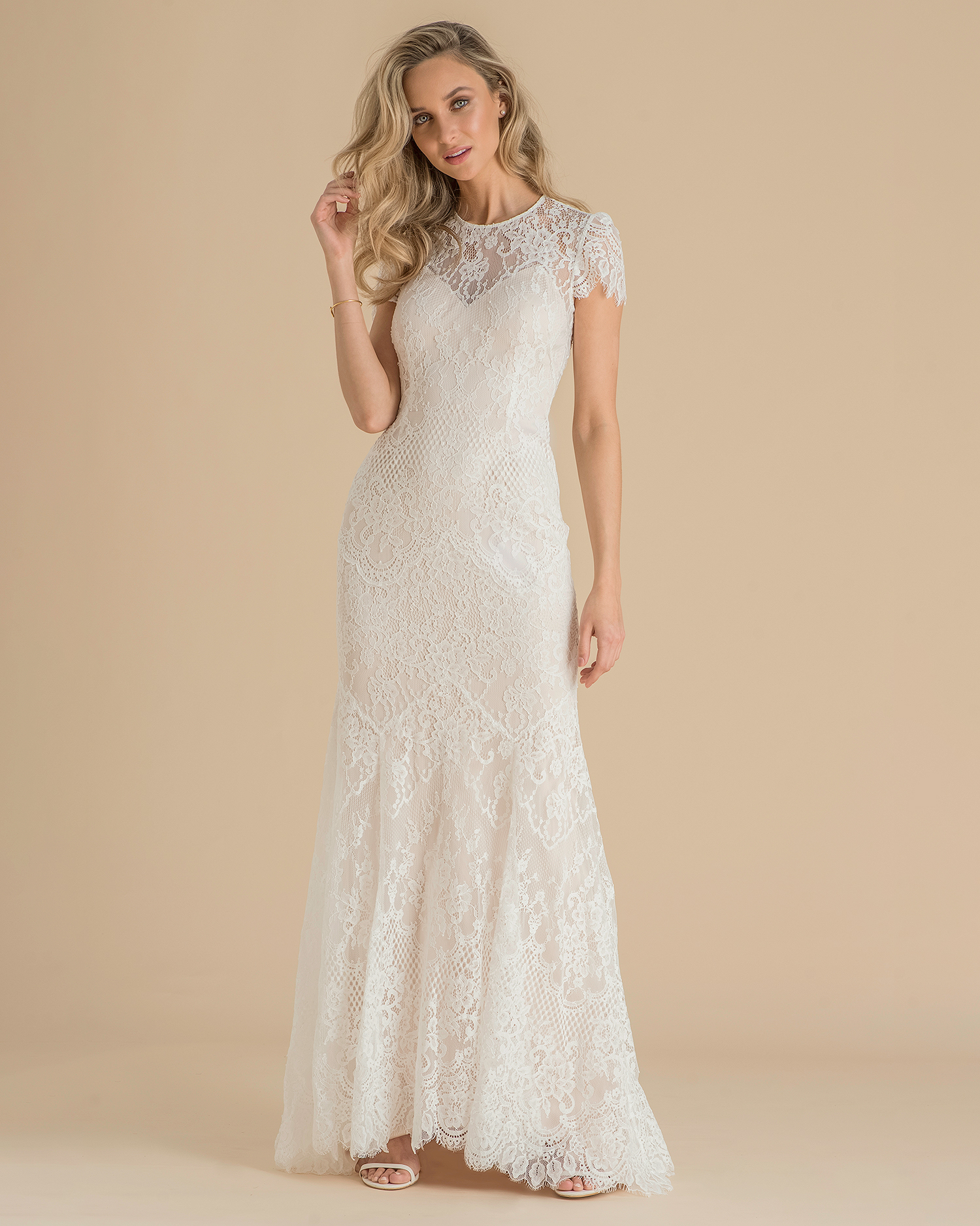 catherine deane wedding dress spring 2019 short-sleeved lace overlay
