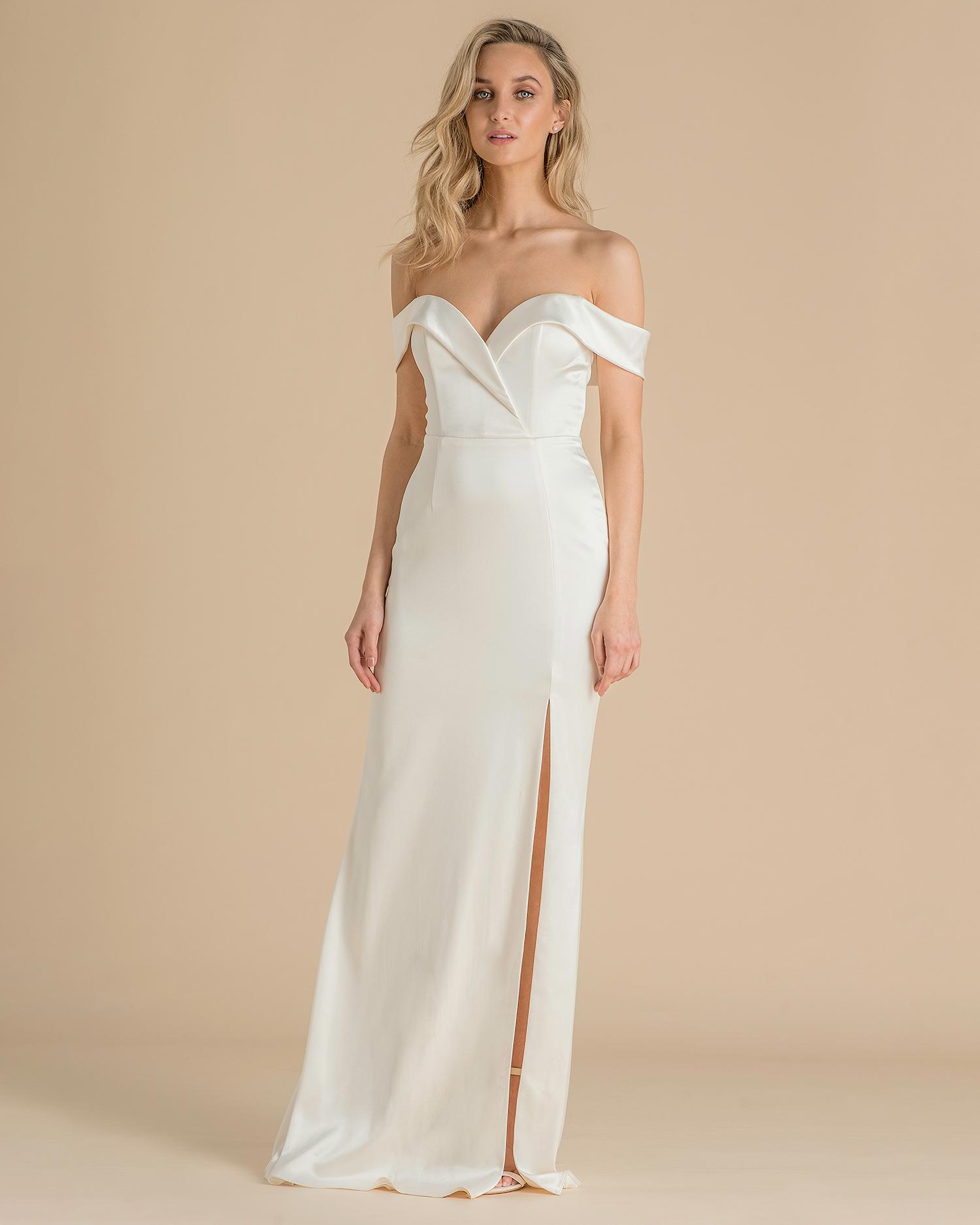catherine deane wedding dress spring 2019 off-the-shoulder with high slit