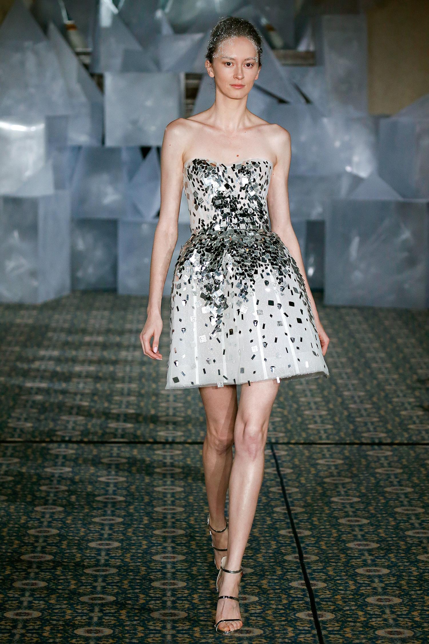 mira zwillinger wedding dress spring 2019 strapless short silver accents