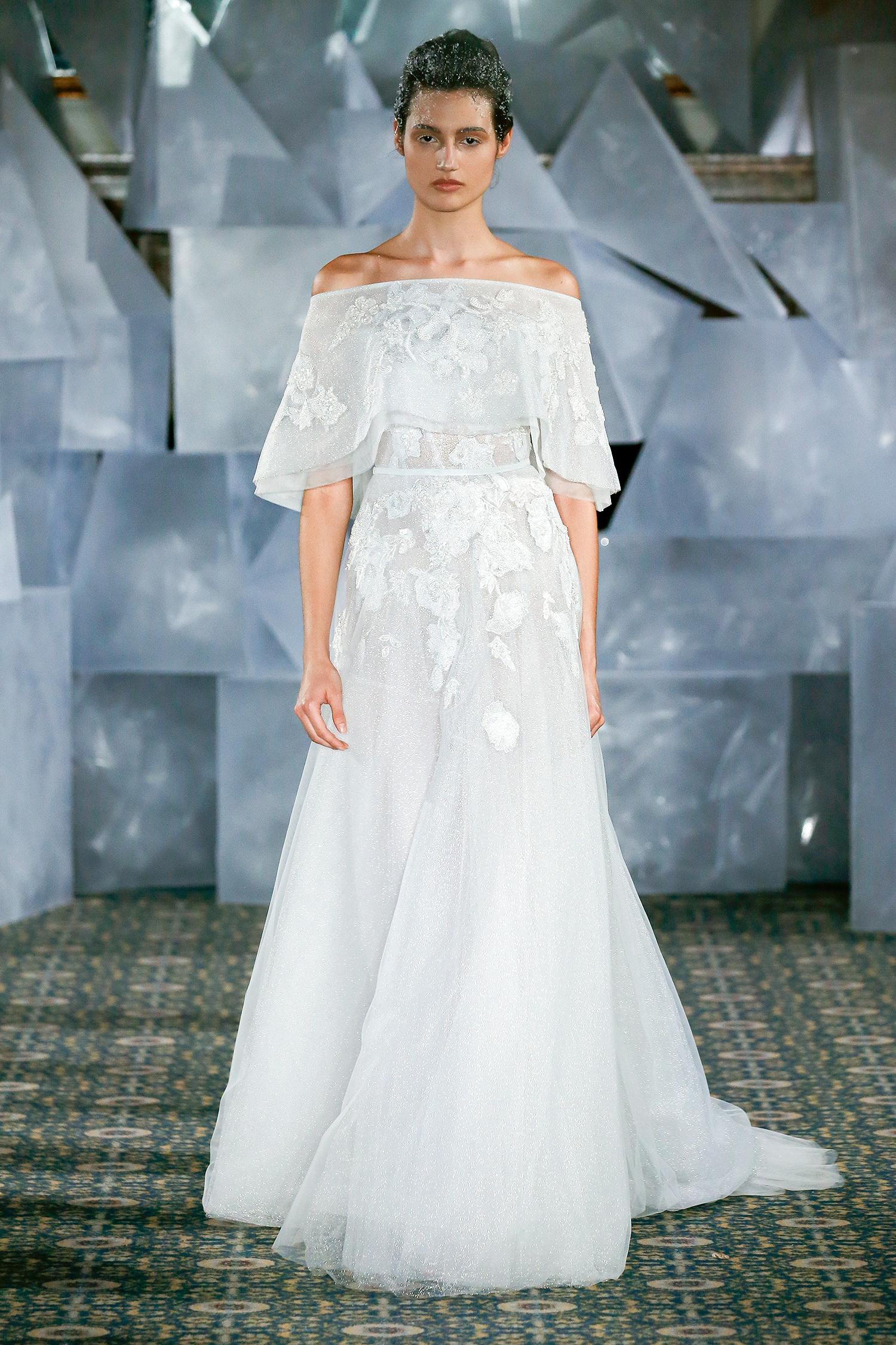 mira zwillinger wedding dress spring 2019 off-the-shoulder draped sleeves