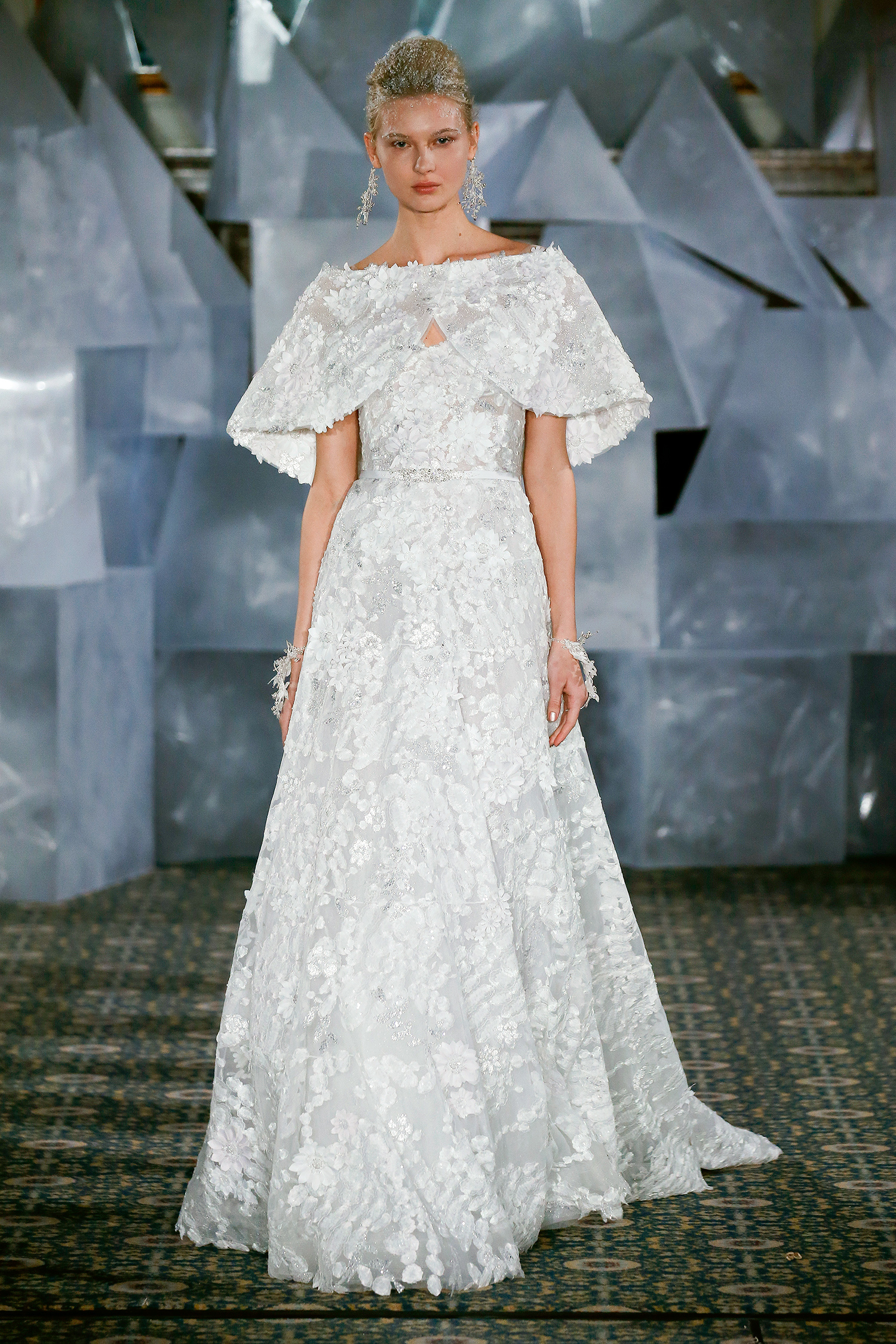 mira zwillinger wedding dress spring 2019 embroidered a-line capelet