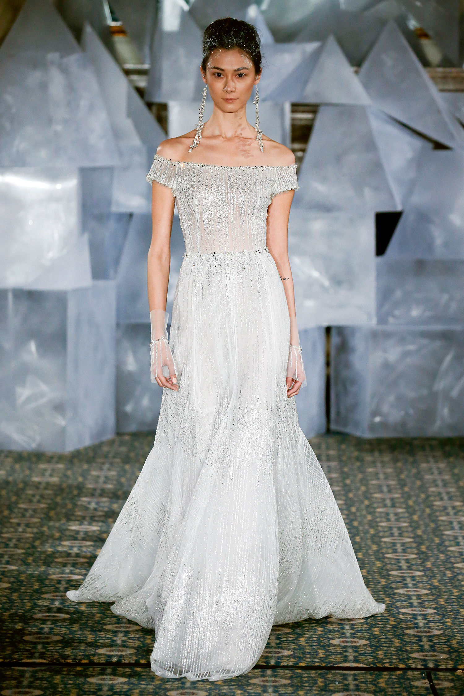 mira zwillinger wedding dress spring 2019 off-the-shoulder a-line beadwork