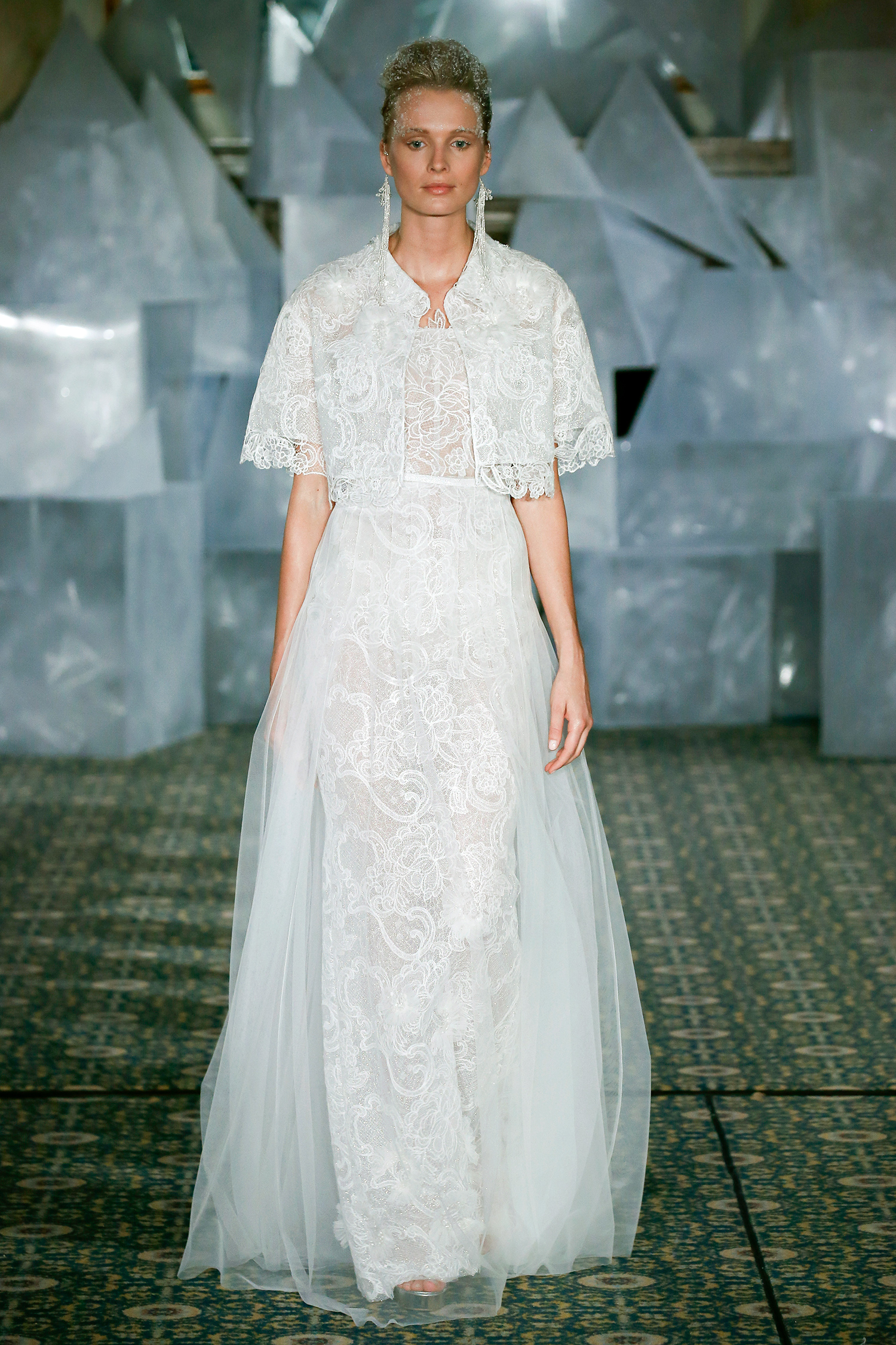 mira zwillinger wedding dress spring 2019 cropped jacket lace a-line