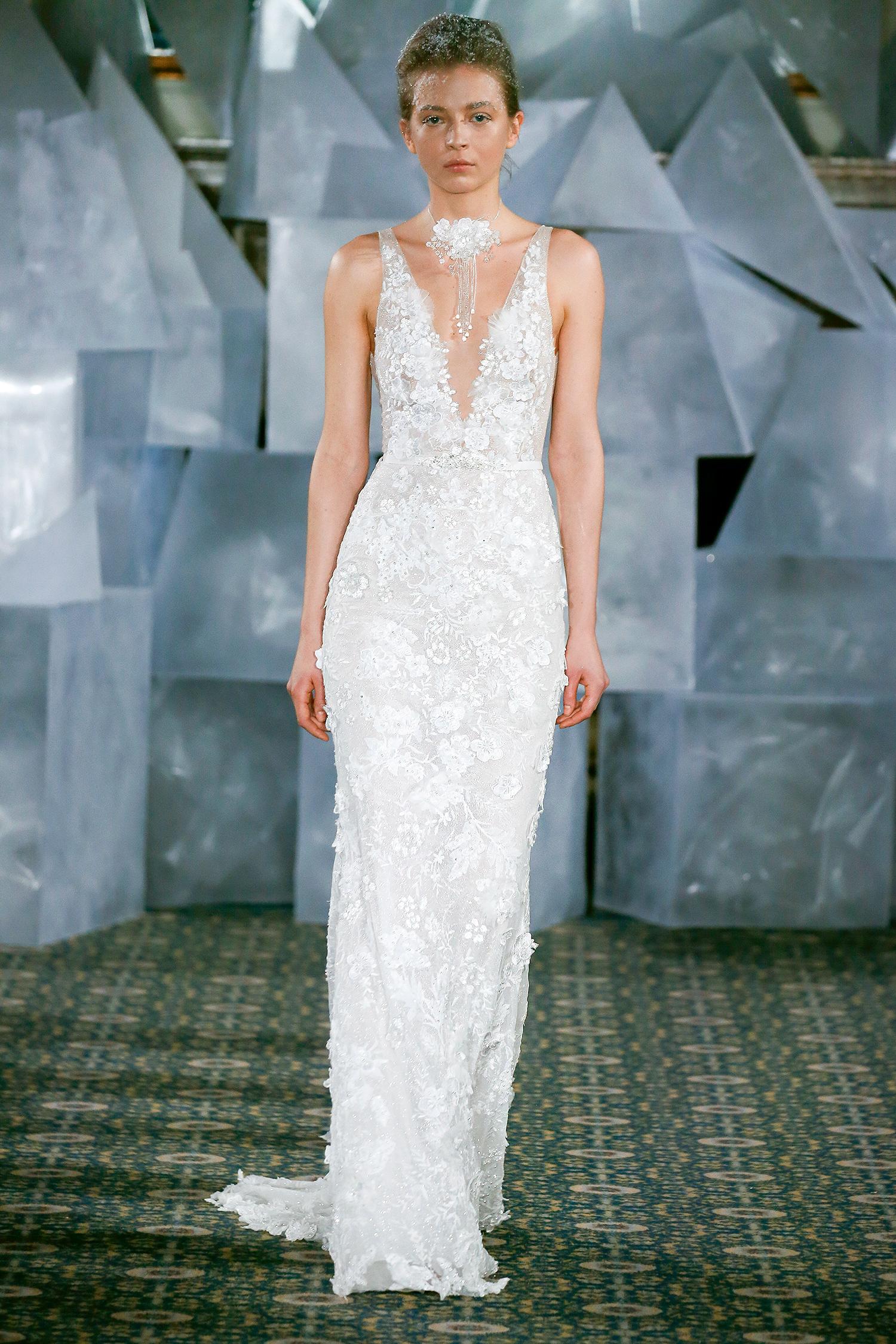 mira zwillinger wedding dress spring 2019 plunging neck applique belt