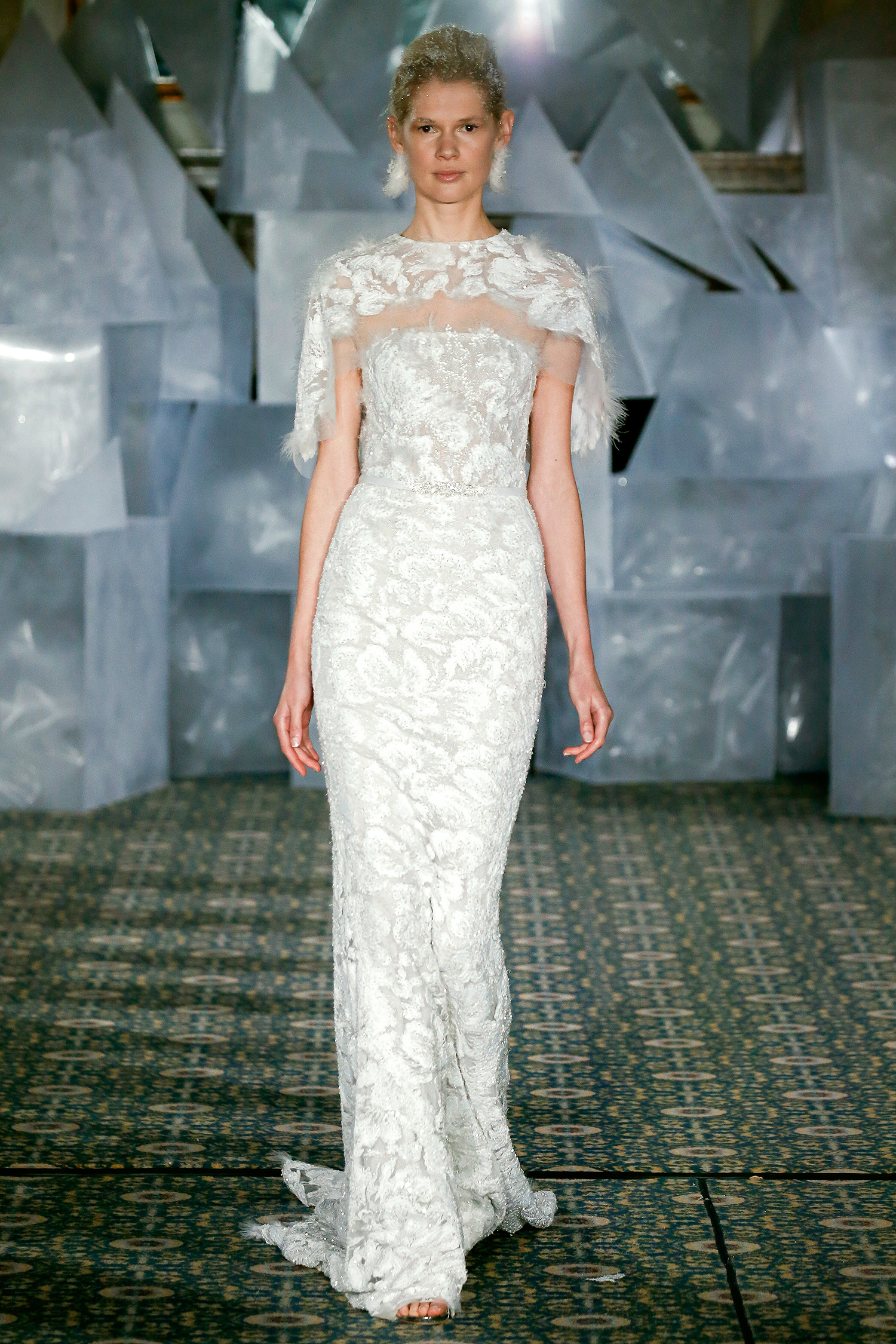 mira zwillinger wedding dress spring 2019 embroidered sheath feather cape