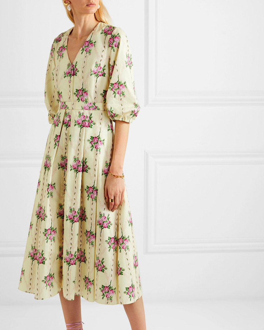 pleated floral-print cotton midi printed mob dress
