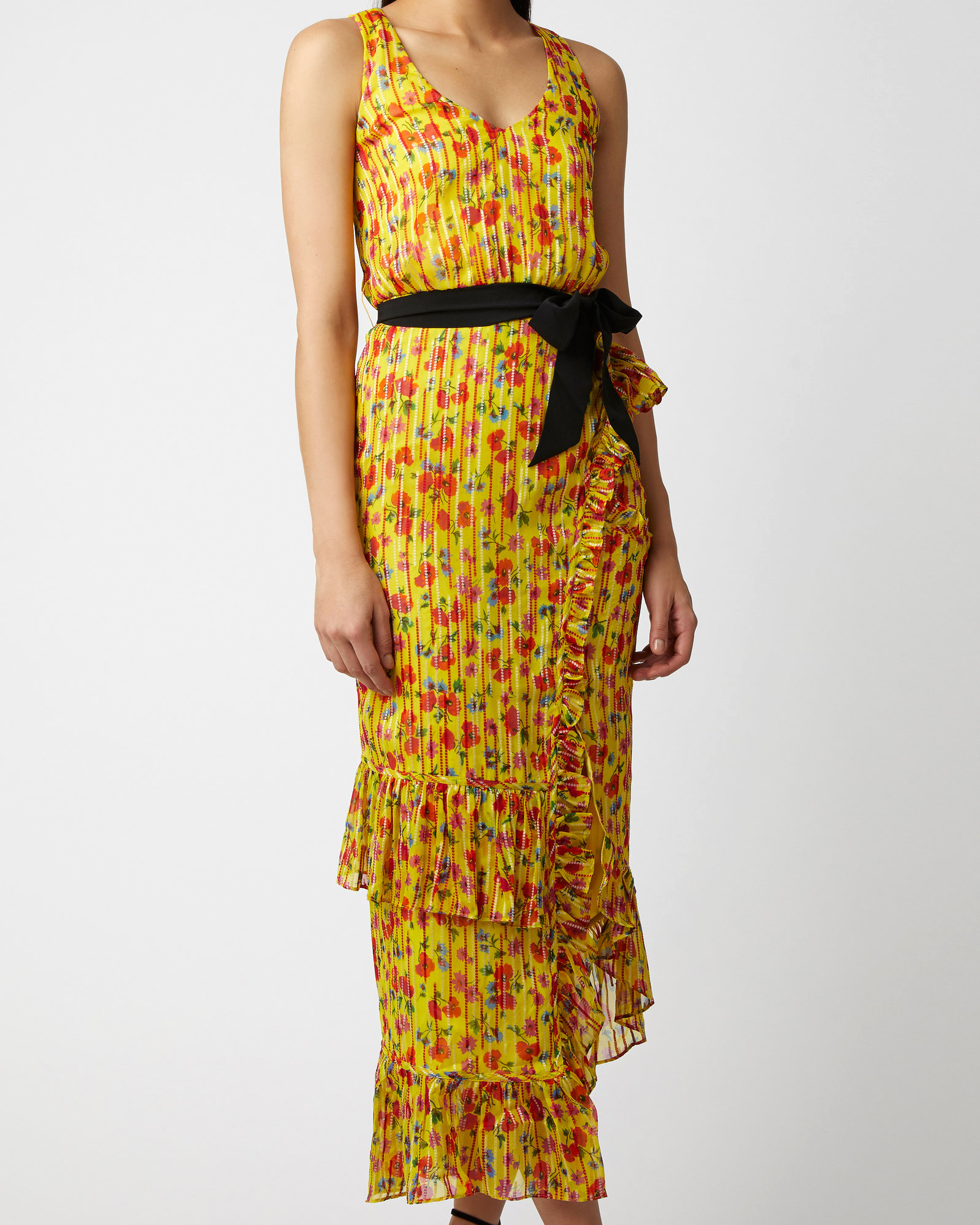 yellow chiffon maxi printed mob dress