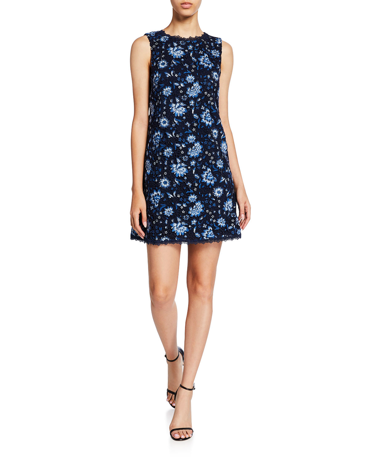 floral-embroidered sleeveless mini shift printed mob dress