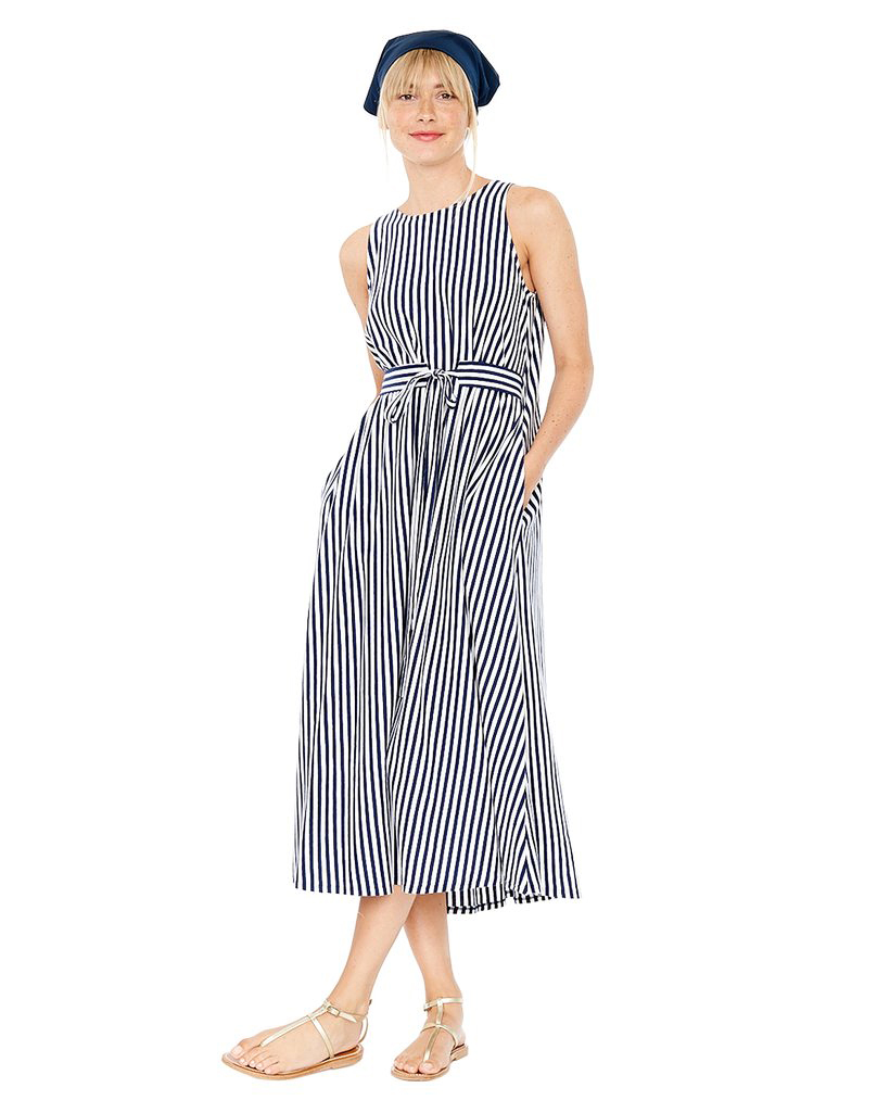 black and white stripe gown