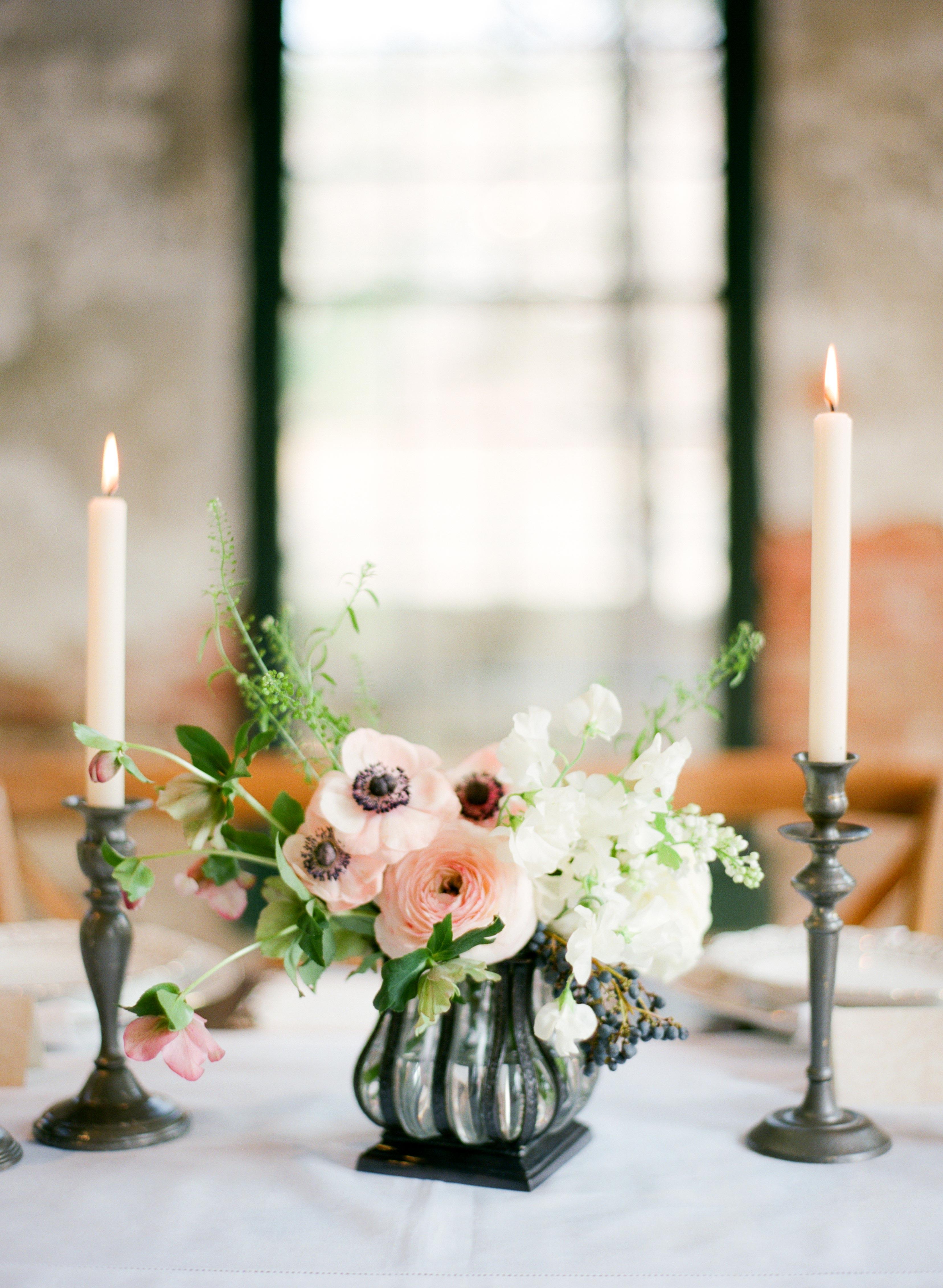 pink centerpiece candles